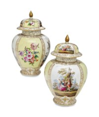 A PAIR OF GERMAN PORCELAIN BALUSTER VASES AND COVERS,