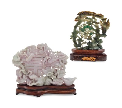 TWO CHINESE JADEITE CARVINGS,