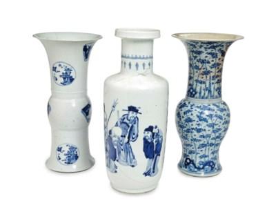 THREE CHINESE BLUE AND WHITE V