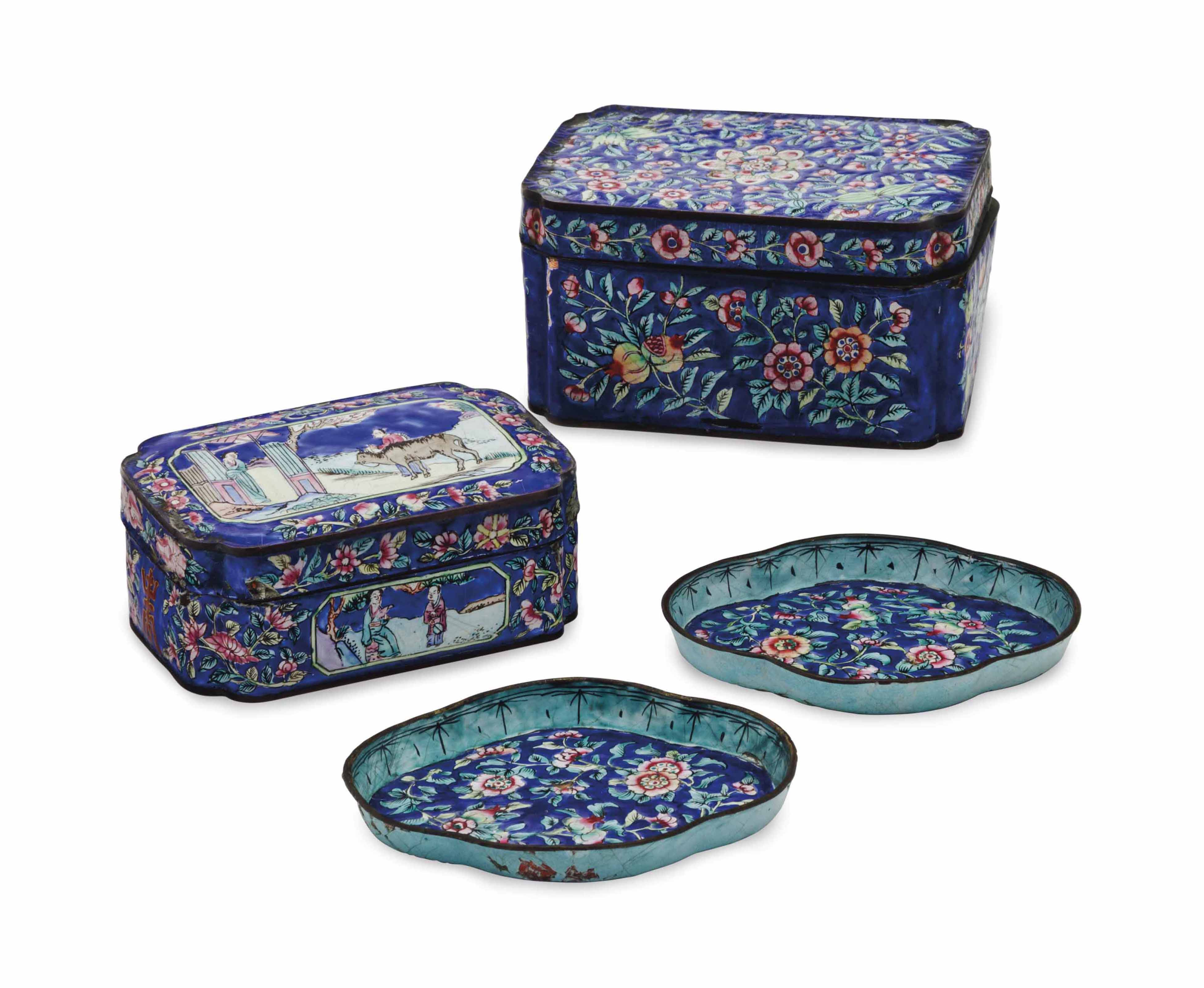 TWO CHINESE ENAMEL BOXES AND C