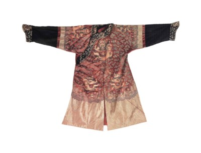A CHINESE GOLD EMBROIDERED RUS
