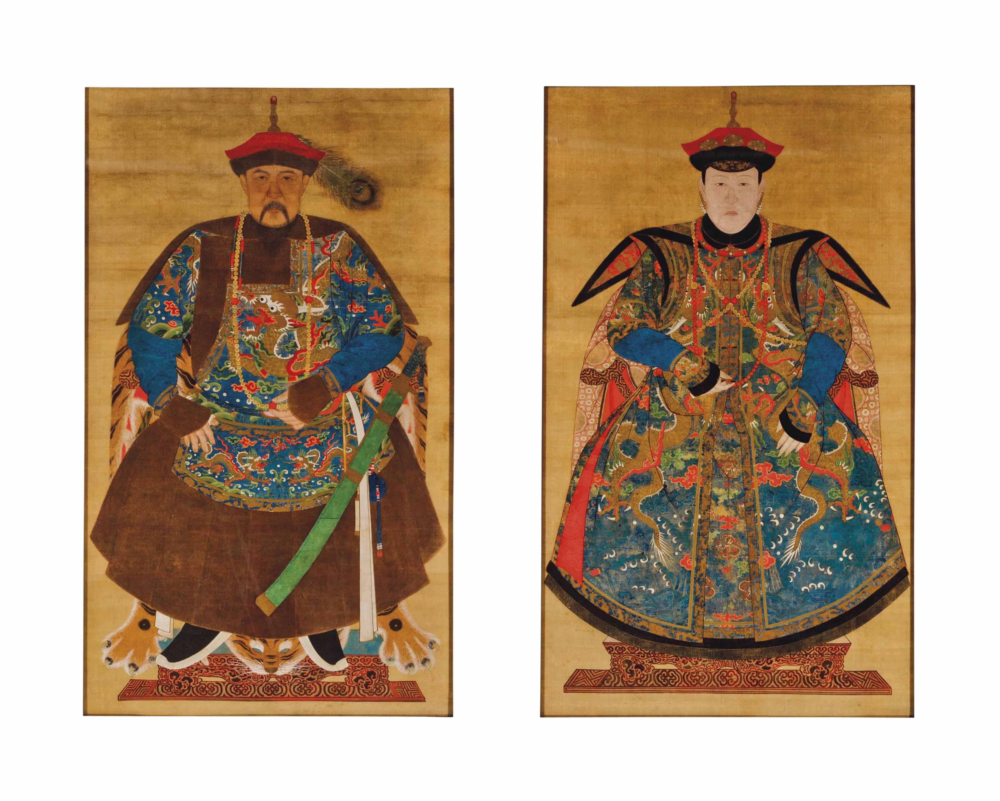 A PAIR OF CHINESE ANCEST0R POR