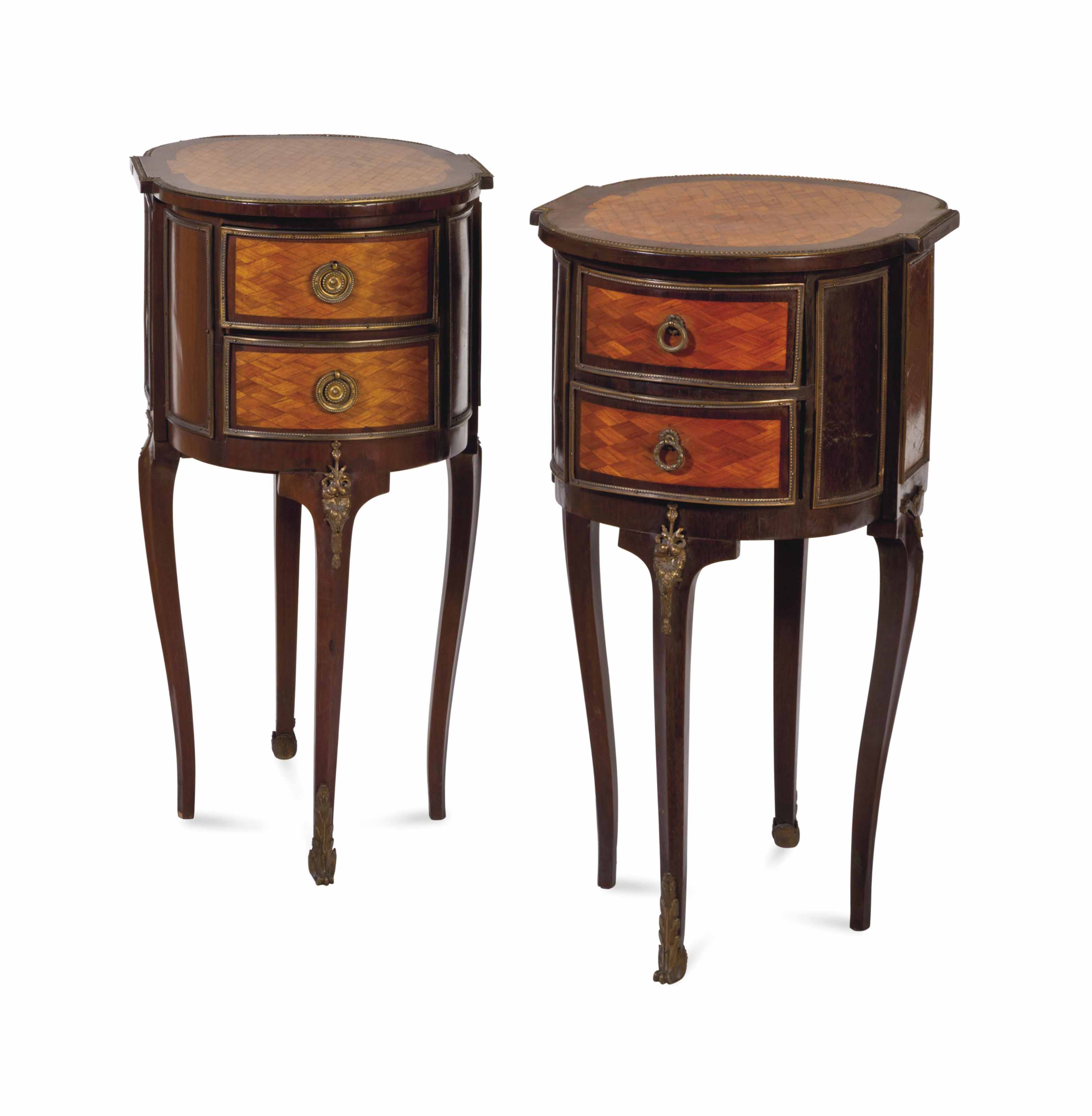 A PAIR OF LOUIS XVI STYLE GILT METAL-MOUNTED KINGWOOD PARQUETRY BEDSIDE TABLES