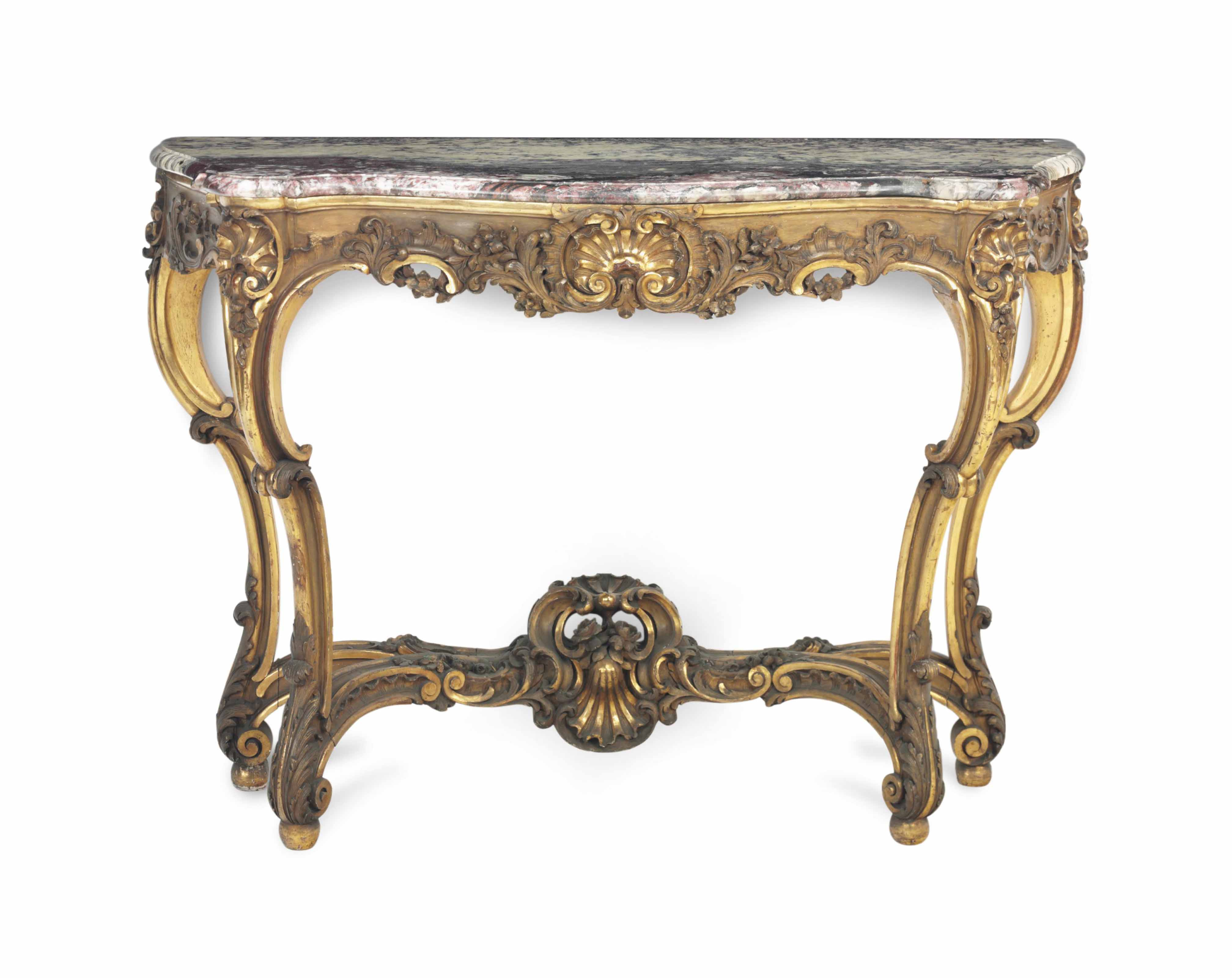A LOUIS XV STYLE GILTWOOD AND MARBLE TOP CONSOLE TABLE