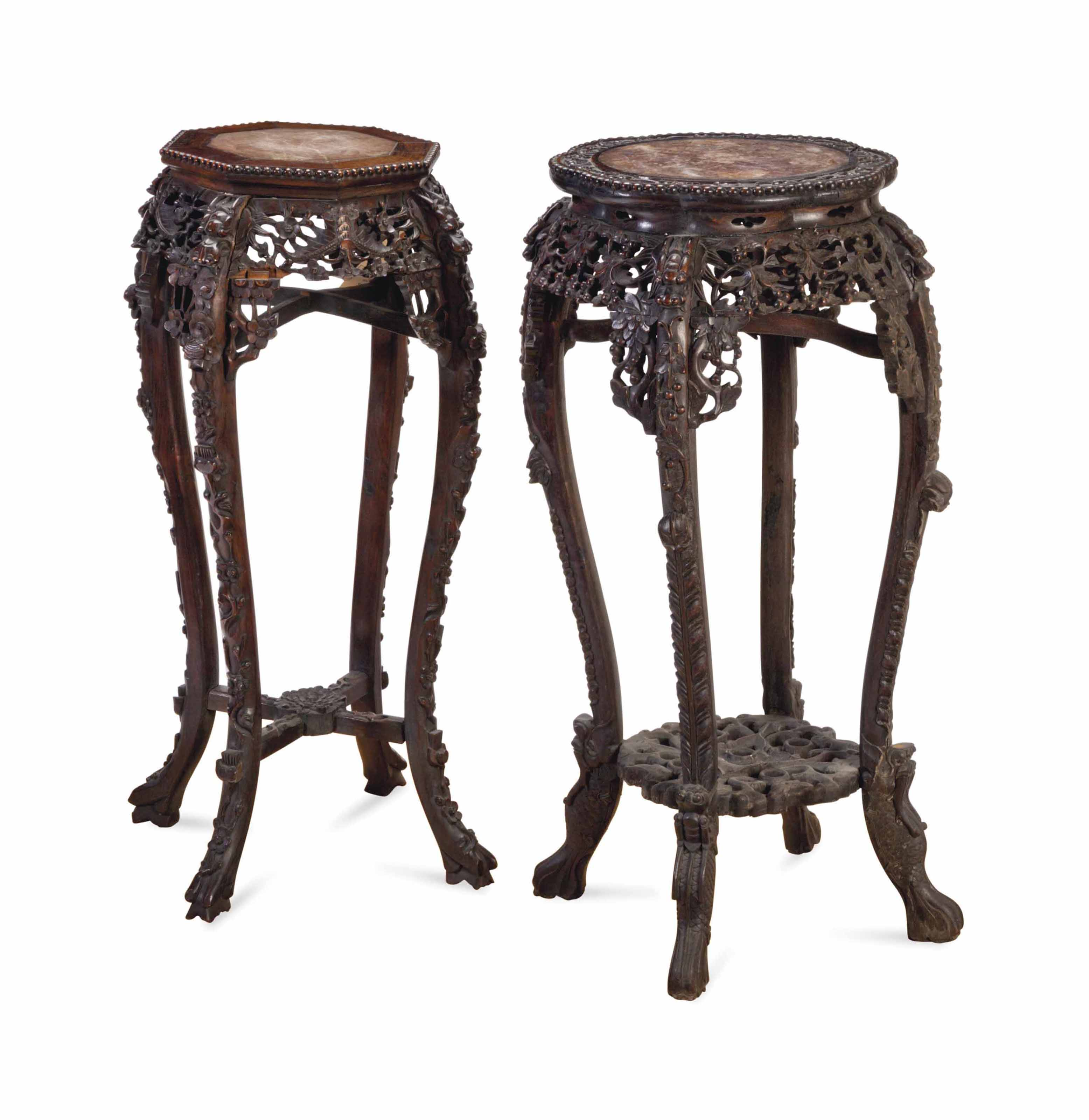 TWO SIMILAR CHINESE MARBLE-INSET HARDWOOD STANDS,