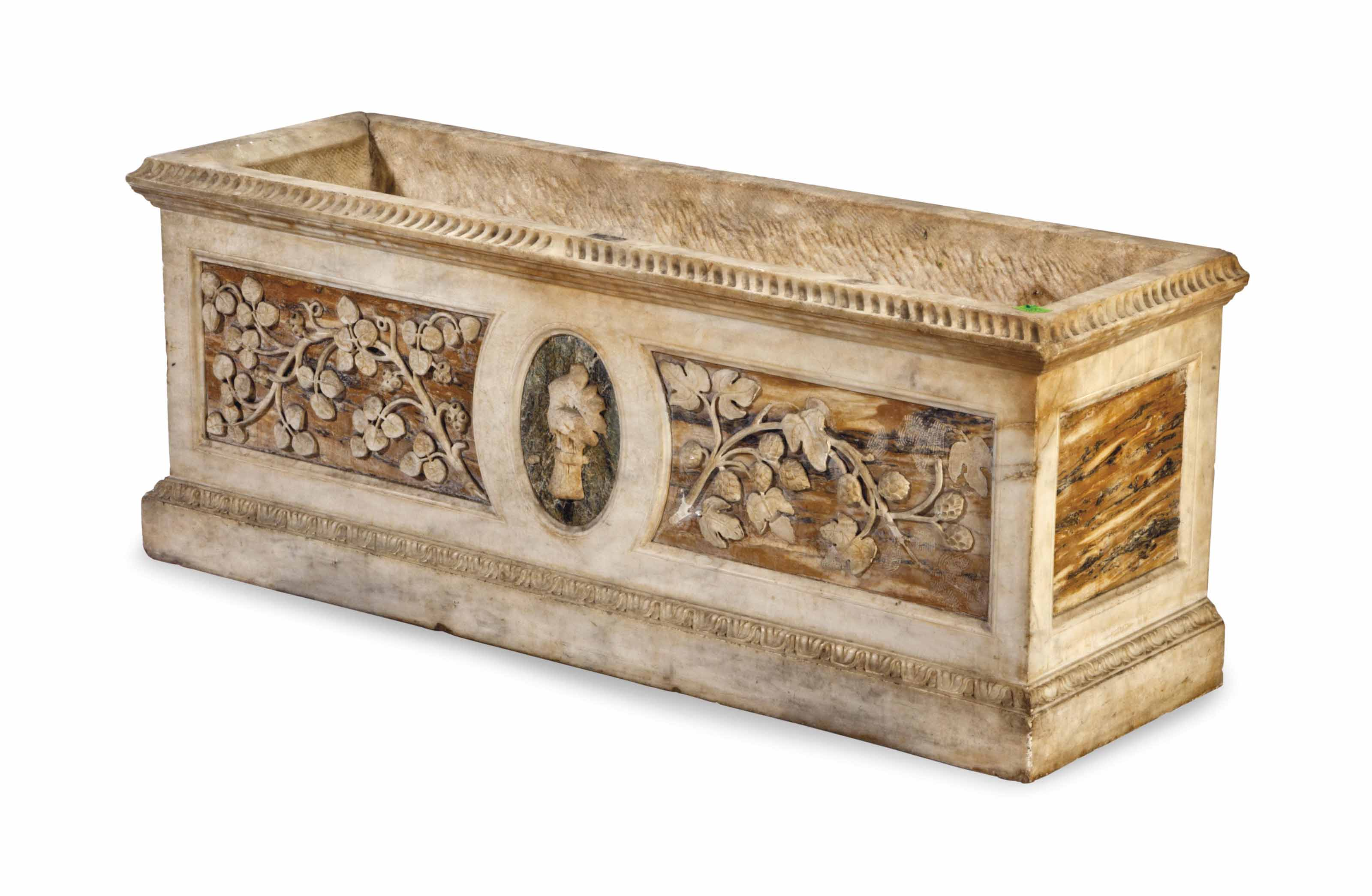A CARVED MARBLE JARDINIERE