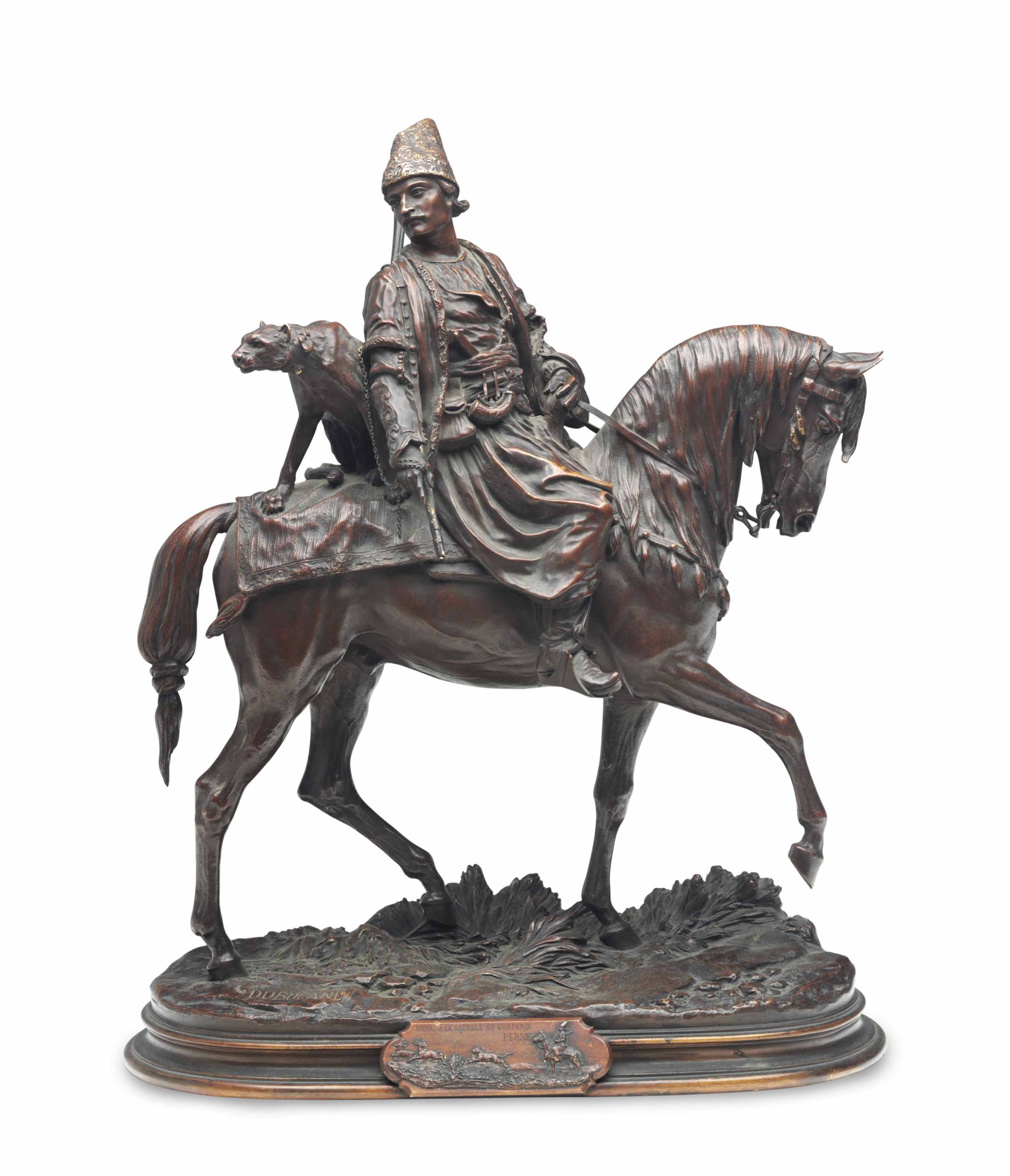 A FRENCH PATINATED BRONZE FIGURAL GROUP OF AN ARAB ON HORSEBACK, 'CHASSE A LA GAZAELLE AU GUEPARD PERSE',