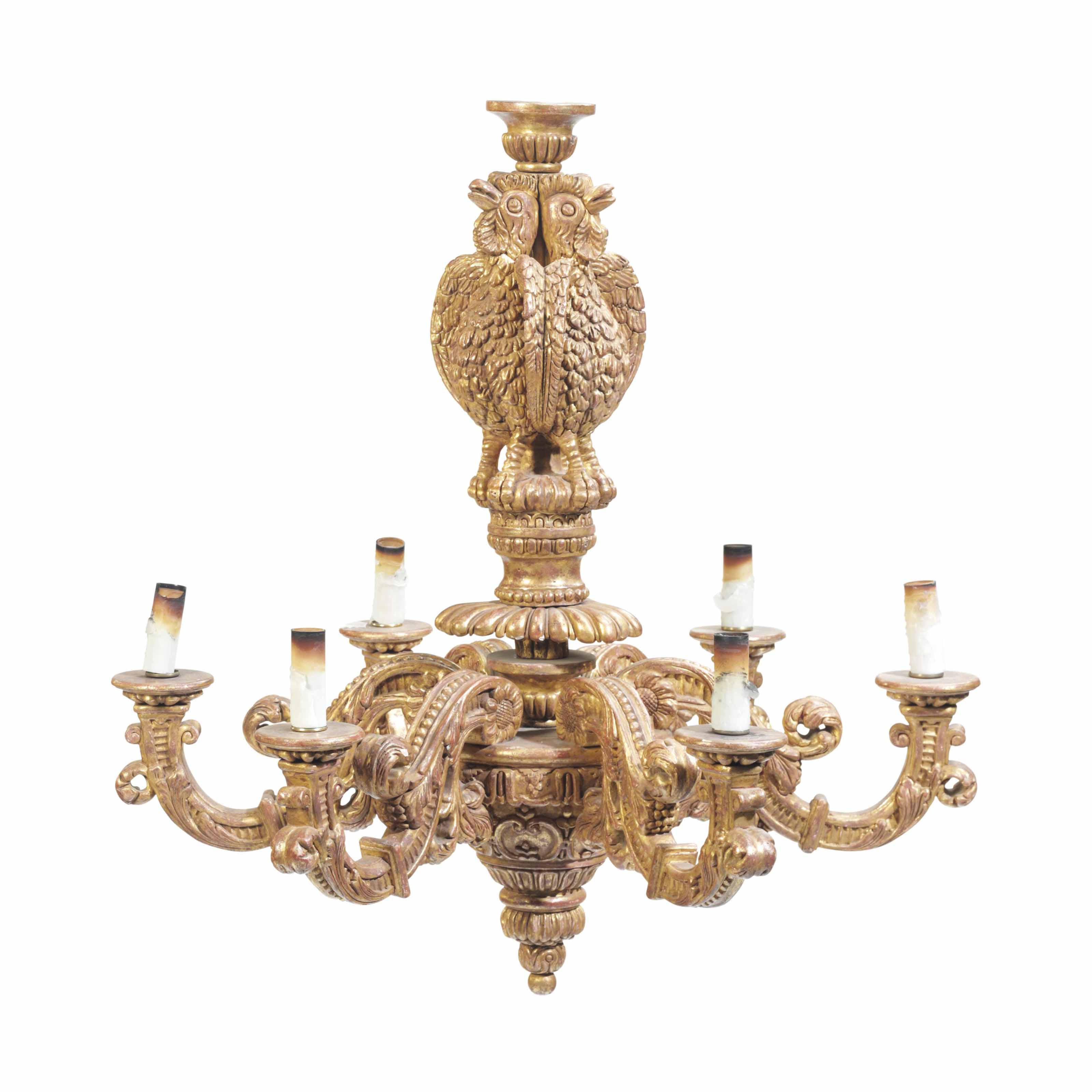 A BAROQUE STYLE GILTWOOD SIX-L