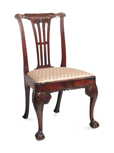 A GEORGE II WALNUT AND STAINED