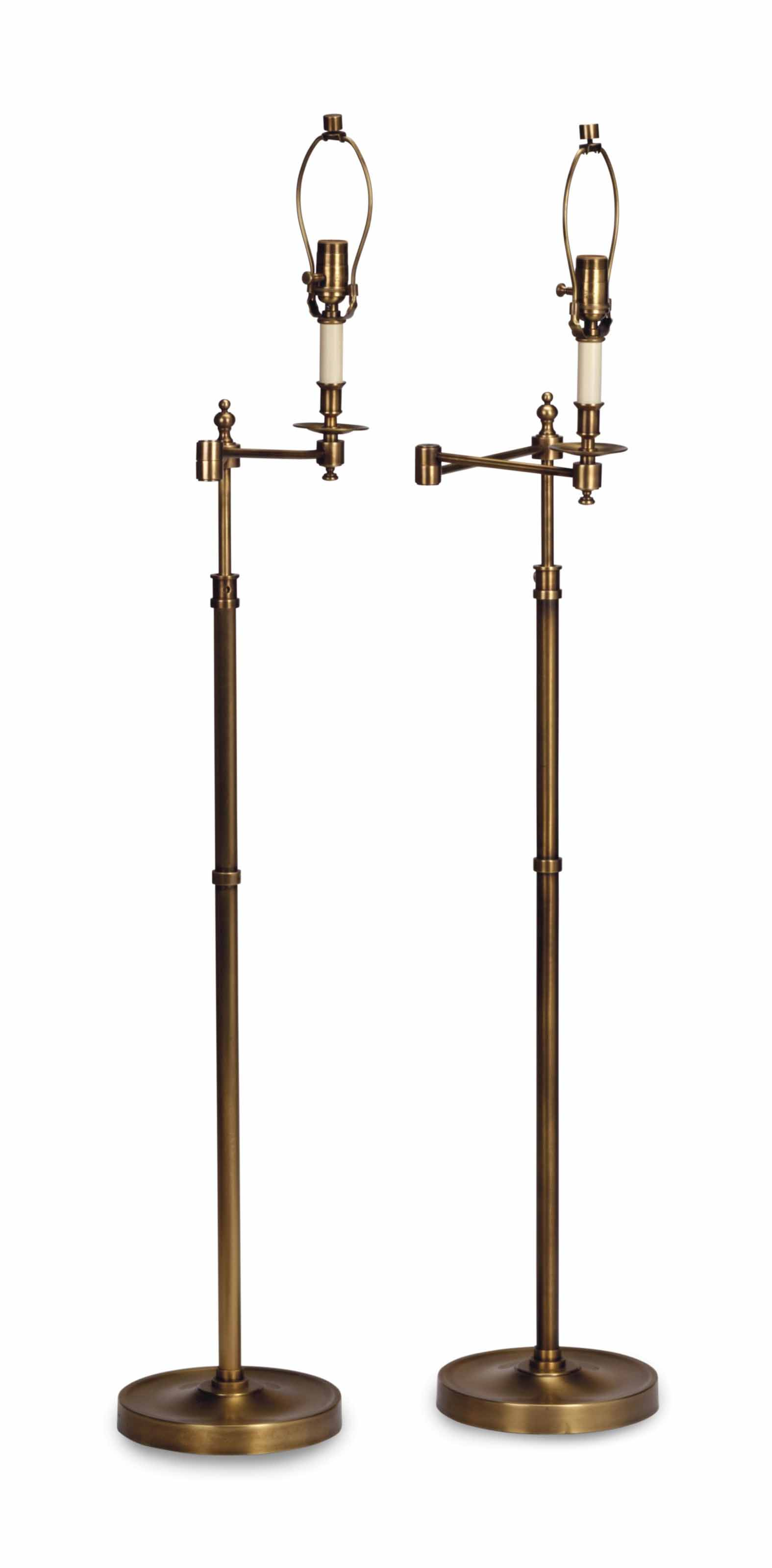 A PAIR OF BRASS SWING ARM FLOO