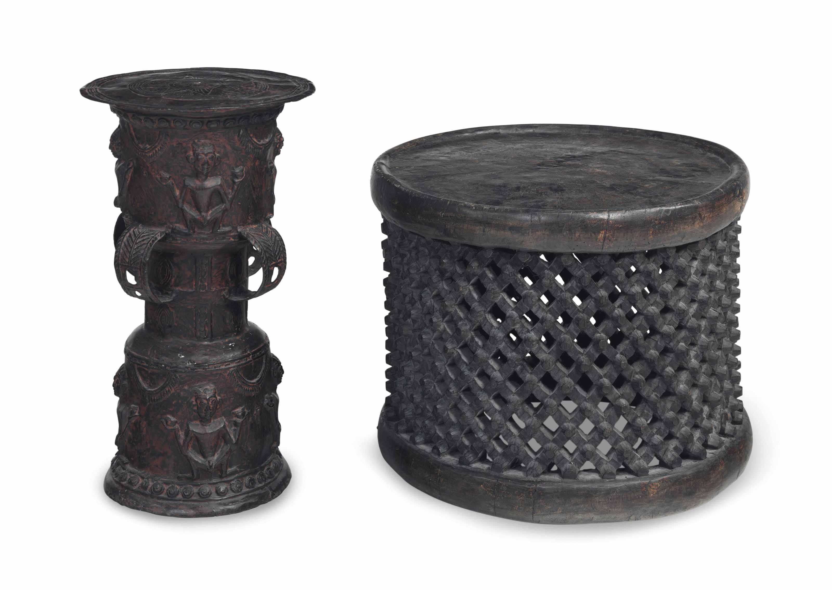 TWO AFRICAN SIDE TABLES,