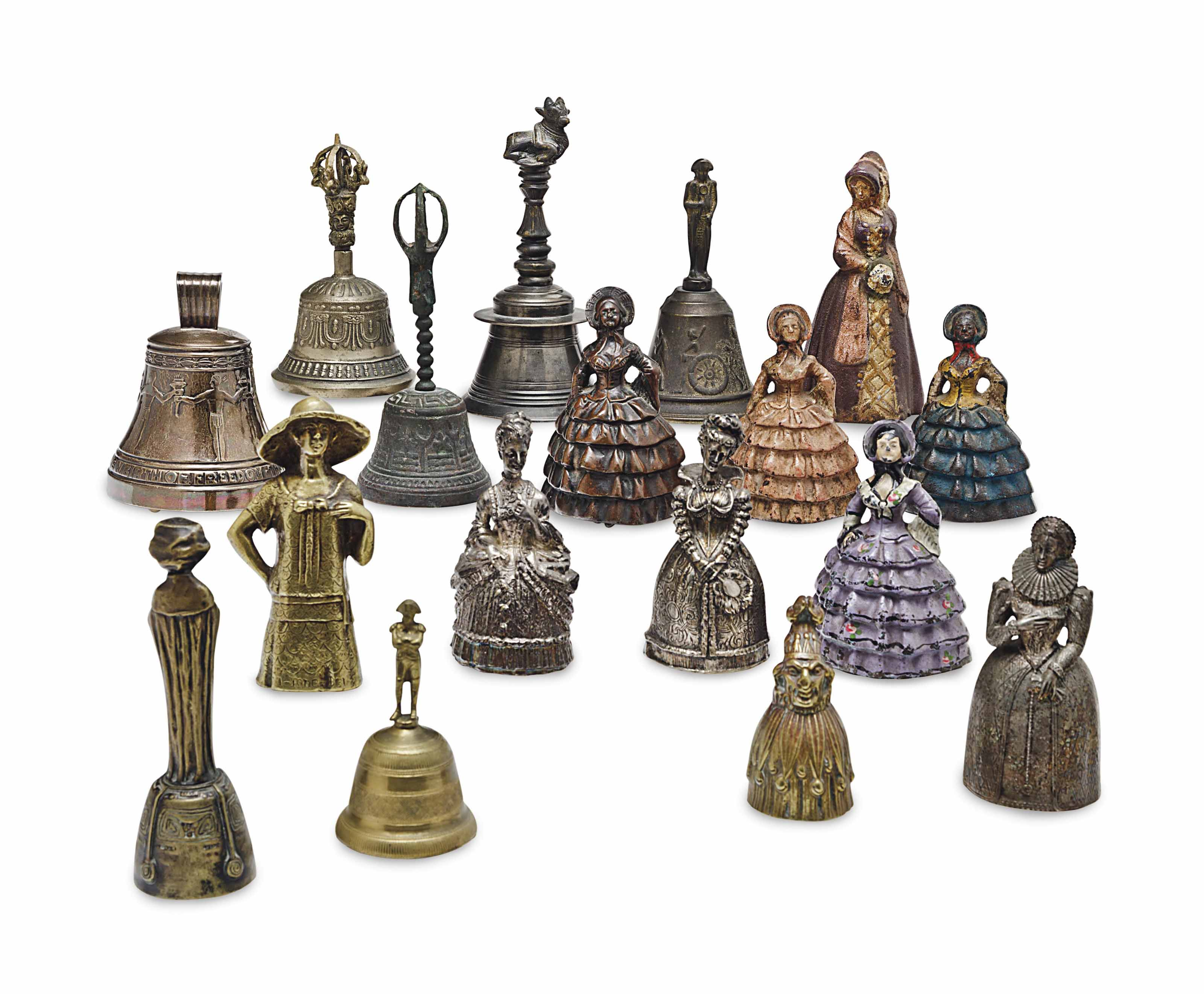 A SET OF THIRTEEN TABLE BELLS,