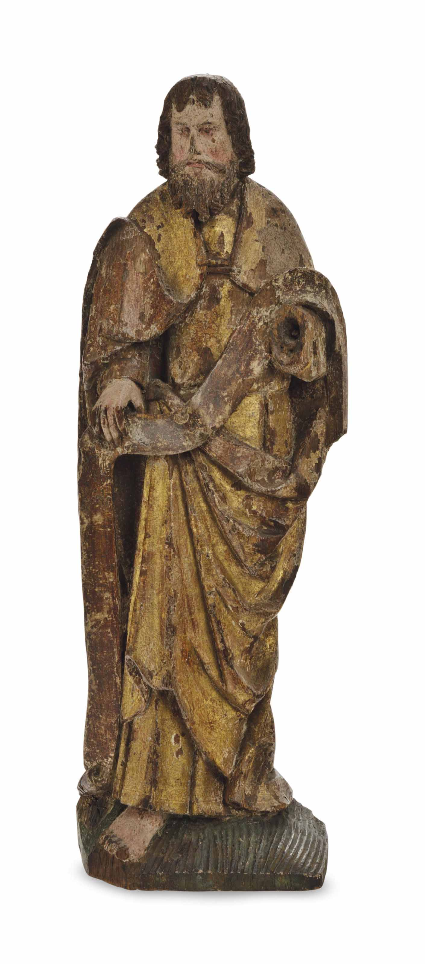 A FRENCH CARVED POLYCHROME AND