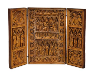 A SPANISH CARVED WALNUT AND FR