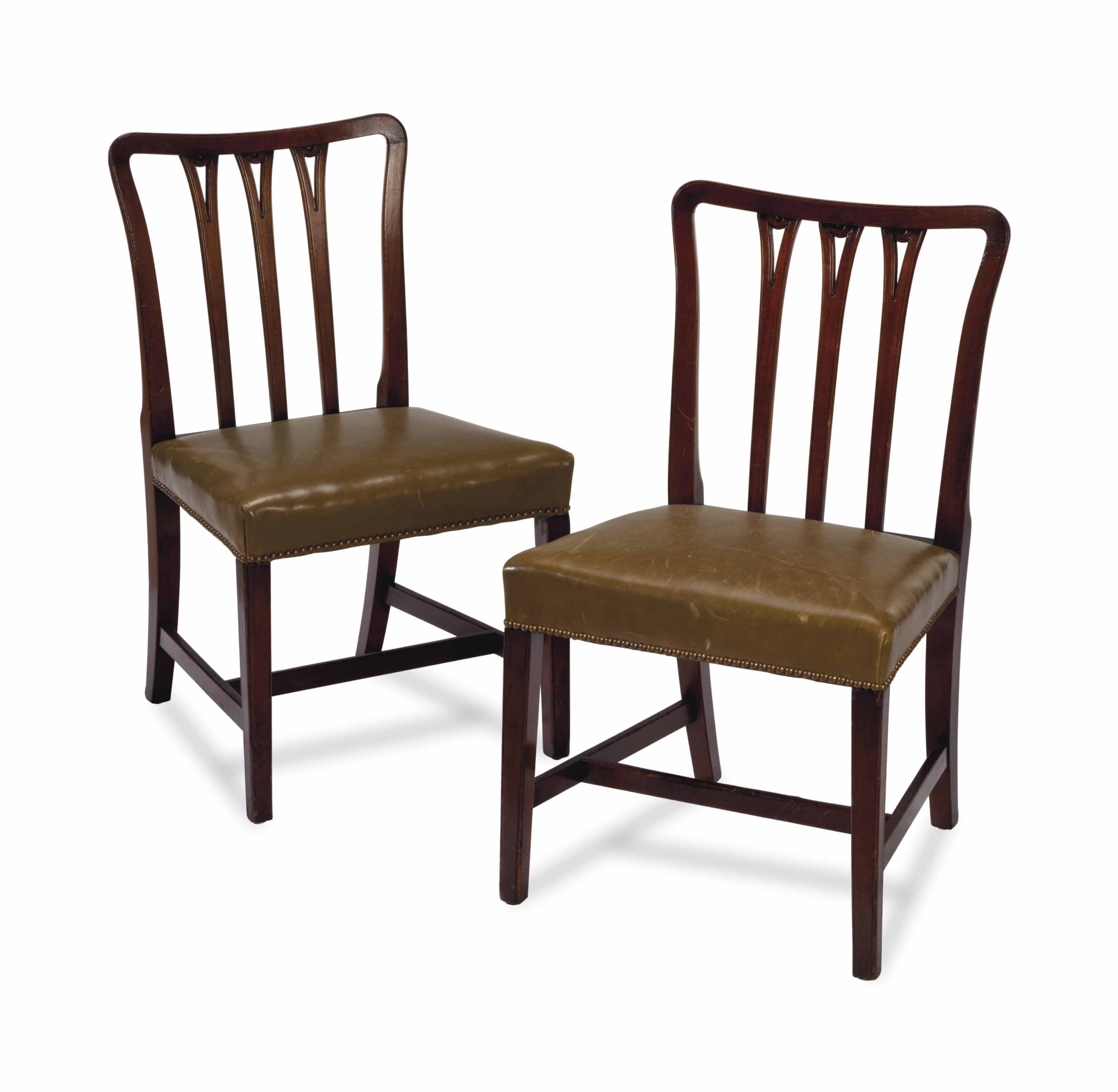 A SET OF TEN ENGLISH MAHOGANY DINING CHAIRS,