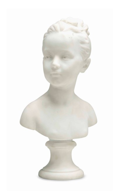 A MARBLE BUST OF A GIRL,