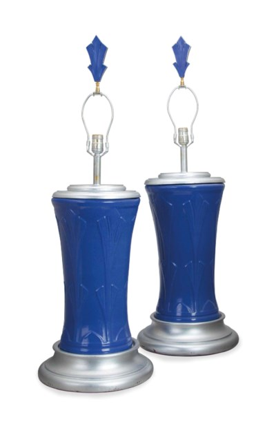 A PAIR OF BLUE-GLAZED LARGE TA