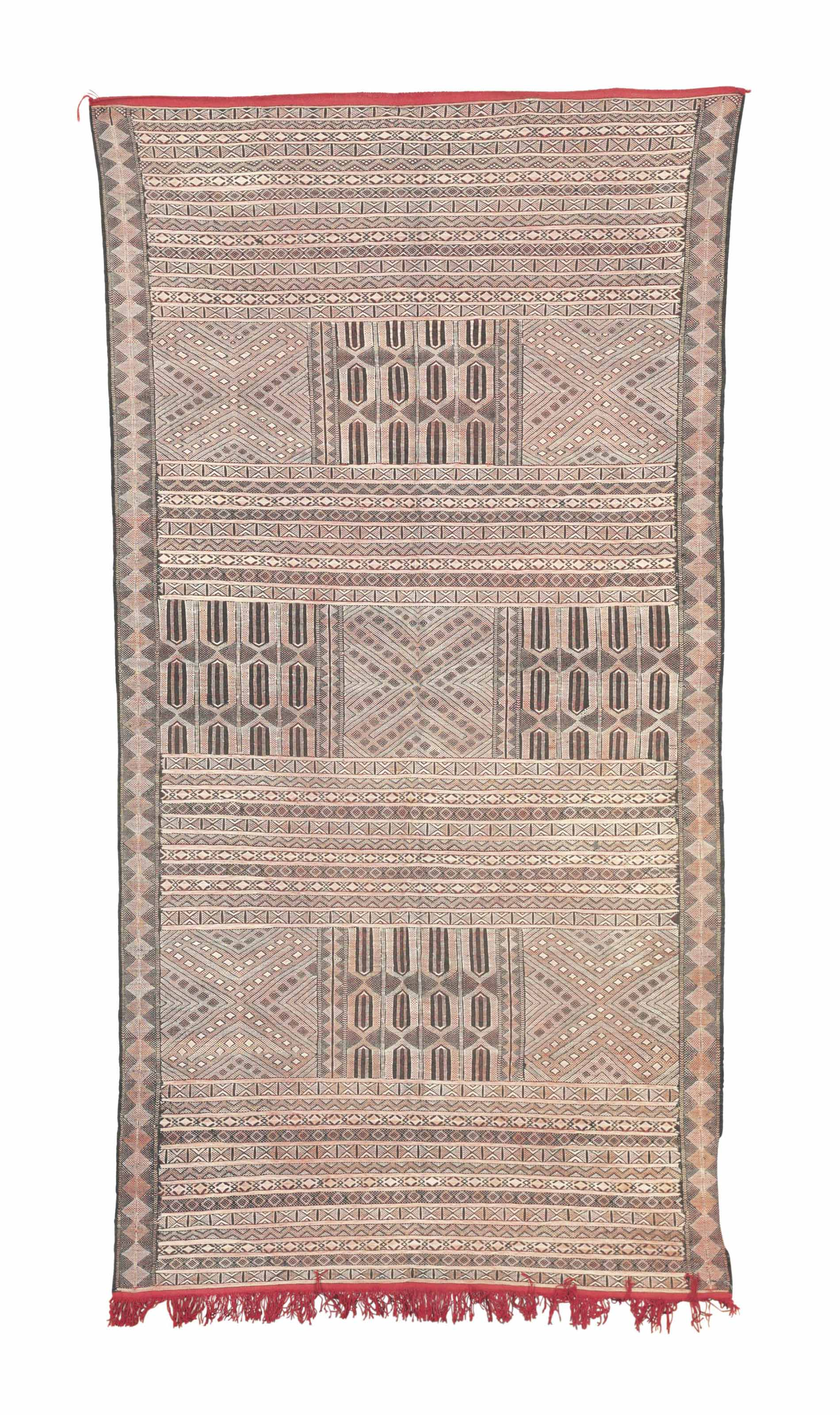 TWO MOROCCAN FLATWEAVES,