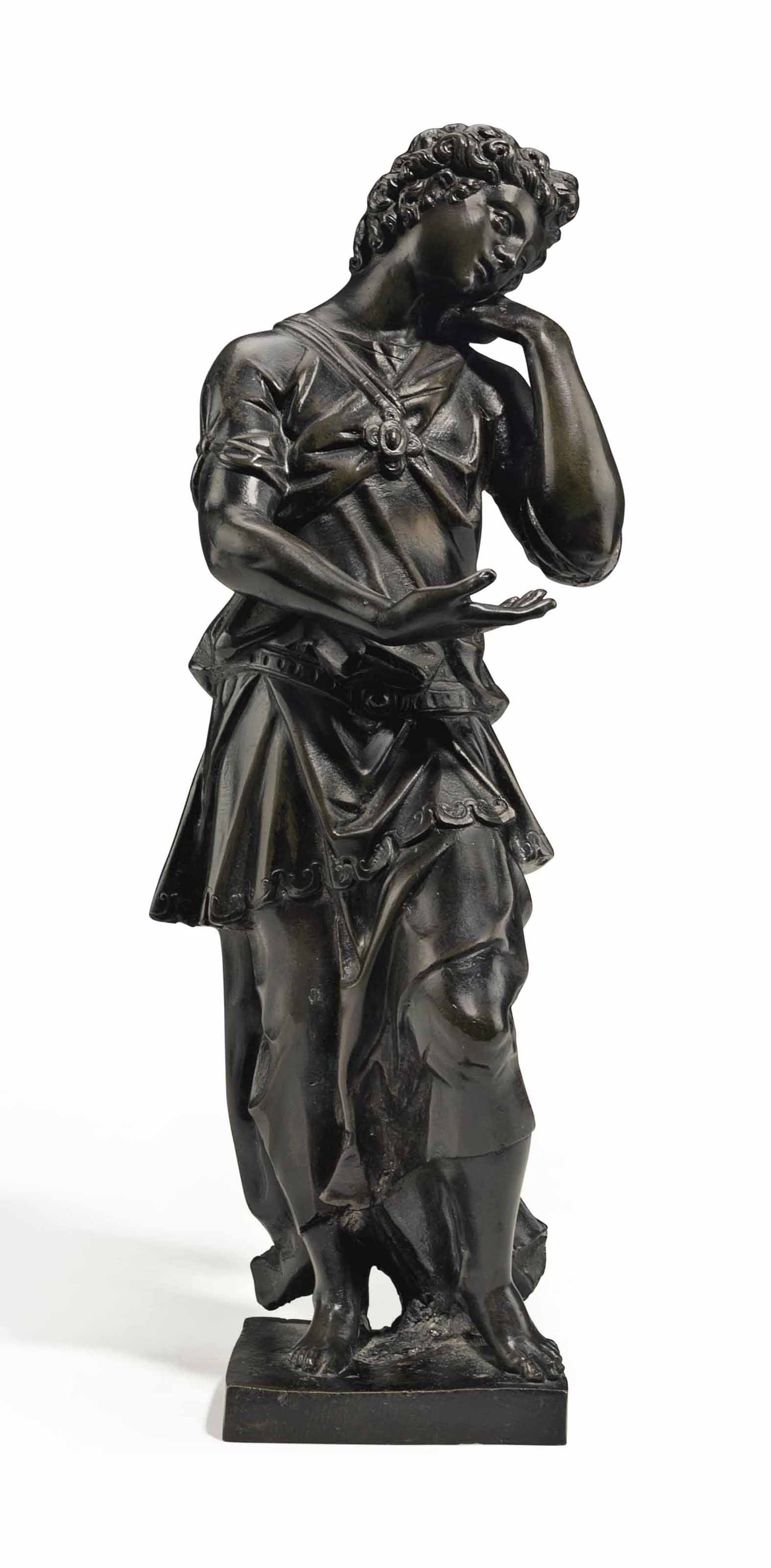 A BRONZE FIGURE OF AN ANGEL