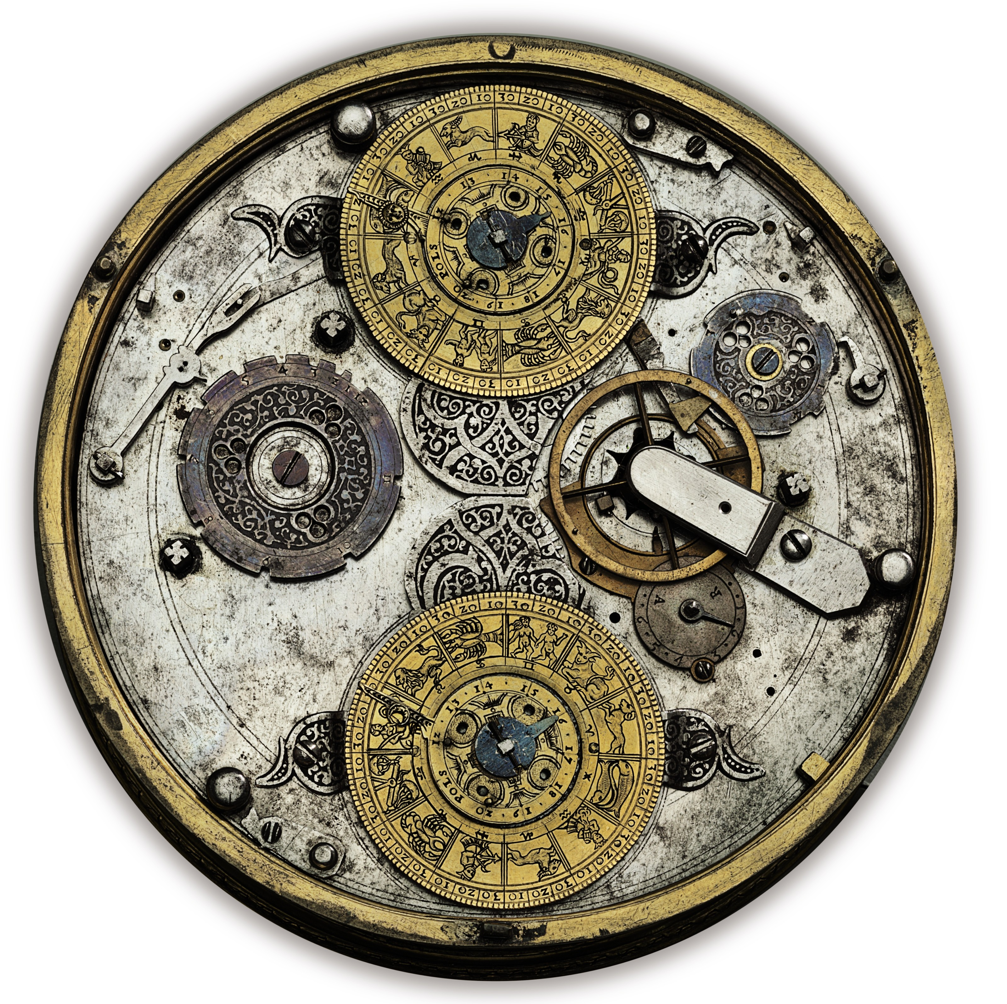 A GERMAN GILT-BRASS STRIKING AND ASTRONOMICAL TABLE CLOCK