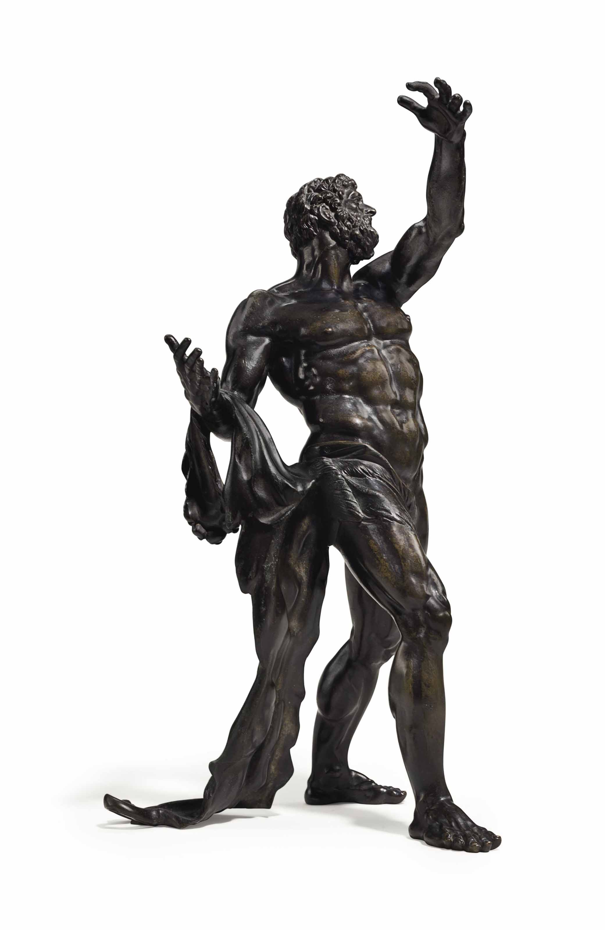 A BRONZE FIGURE OF HERCULES SU