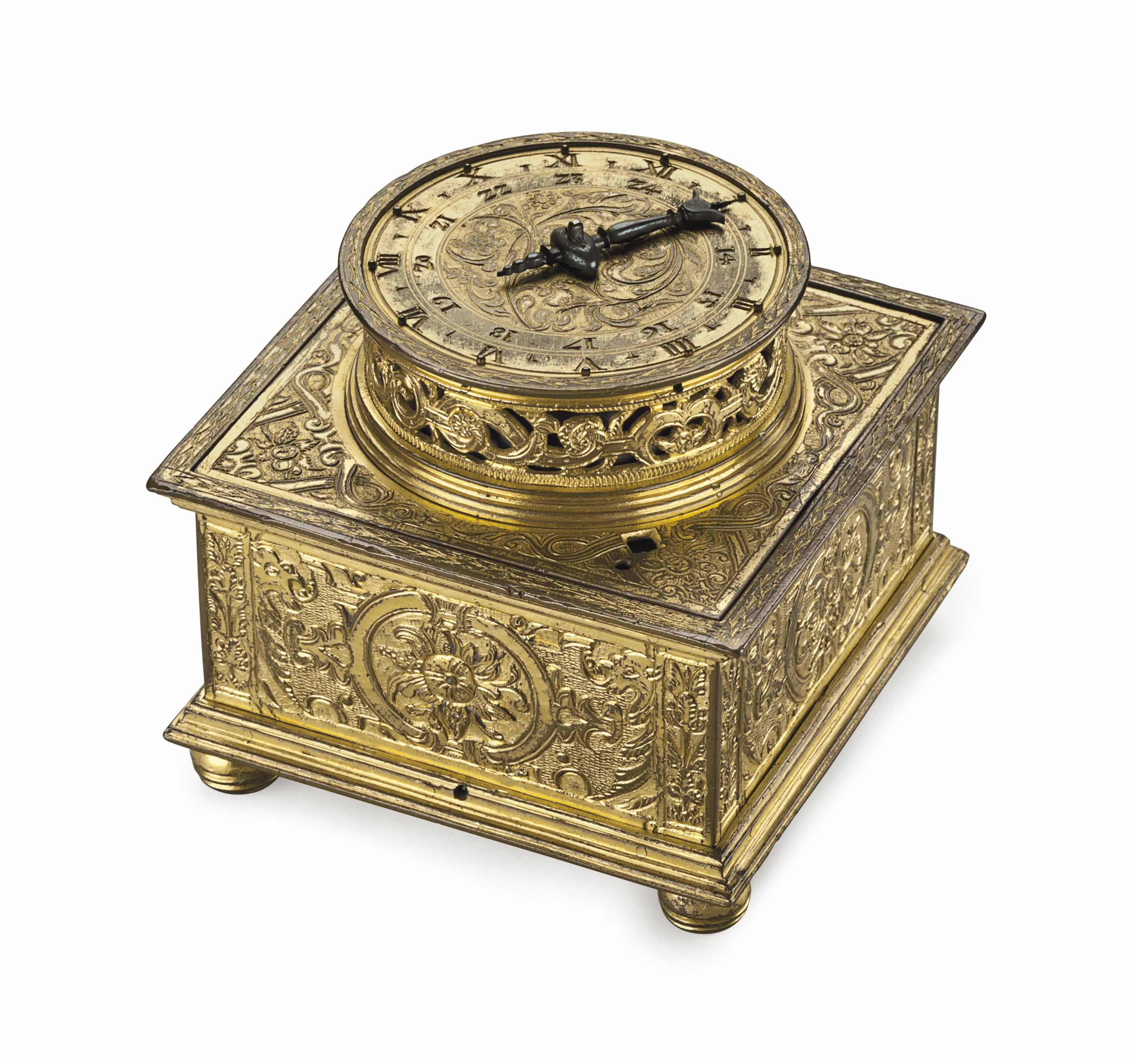A GERMAN ENGRAVED GILT-BRASS STRIKING SQUARE TABLE CLOCK