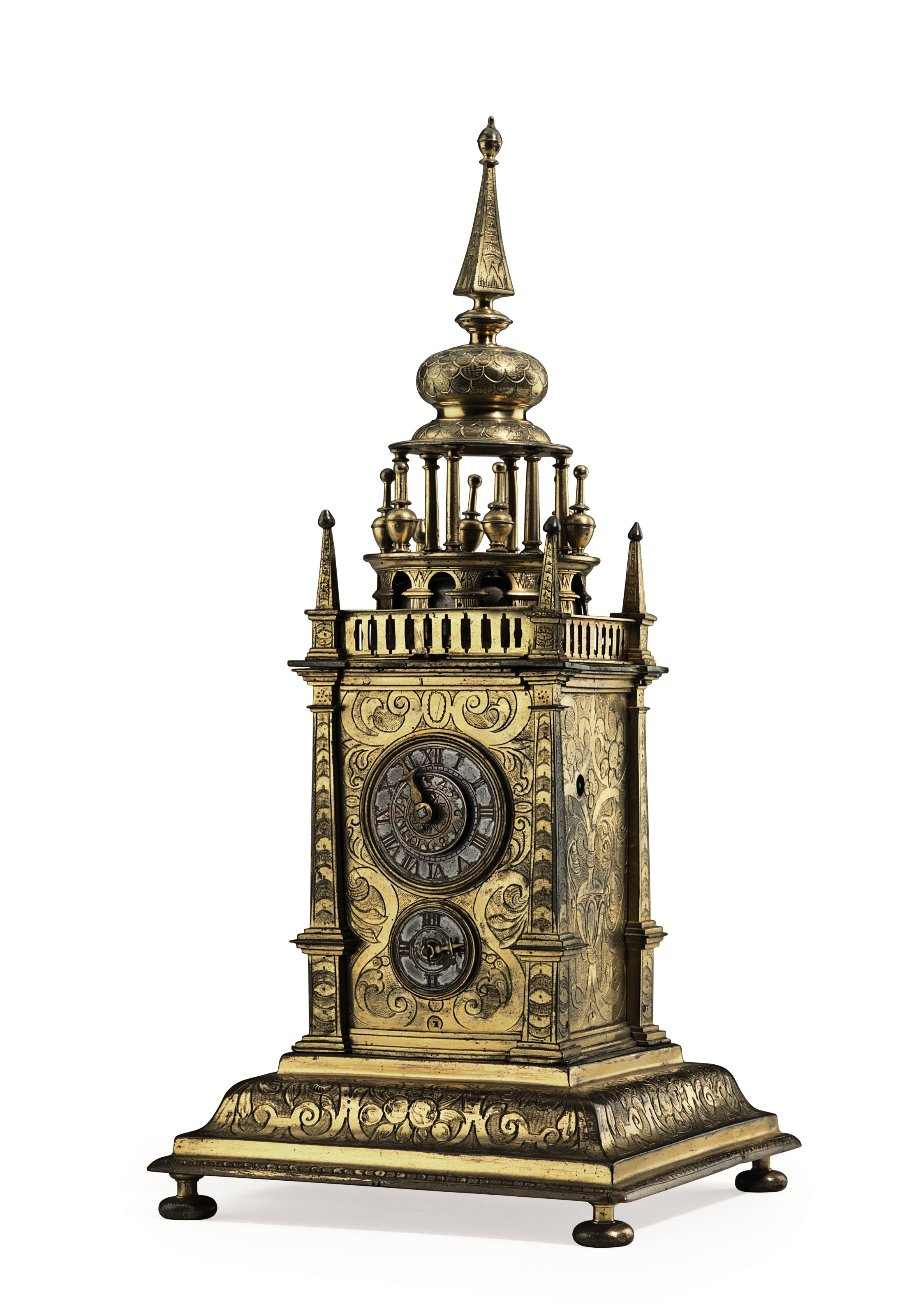 A GERMAN ENGRAVED GILT-BRASS STRIKING AND ALARM TABLE CLOCK WITH ORIGINAL LEATHER TRAVEL CASE