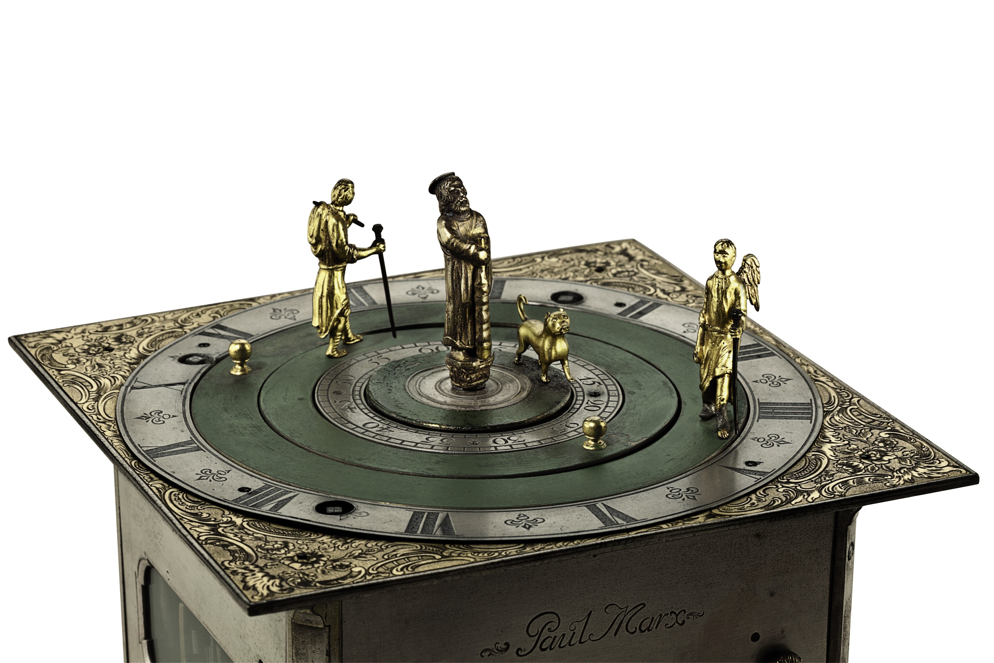 A GERMAN SILVERED, GILT AND PAINTED METAL QUARTER-STRIKING AND REPEATING AUTOMATON TABLE CLOCK