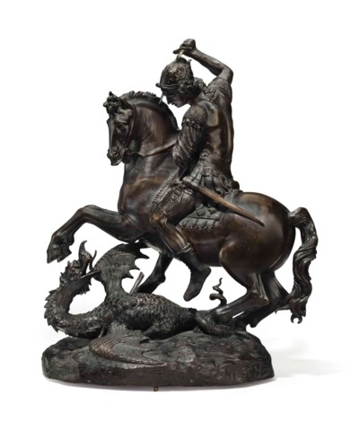 A BRONZE GROUP OF ST. GEORGE A