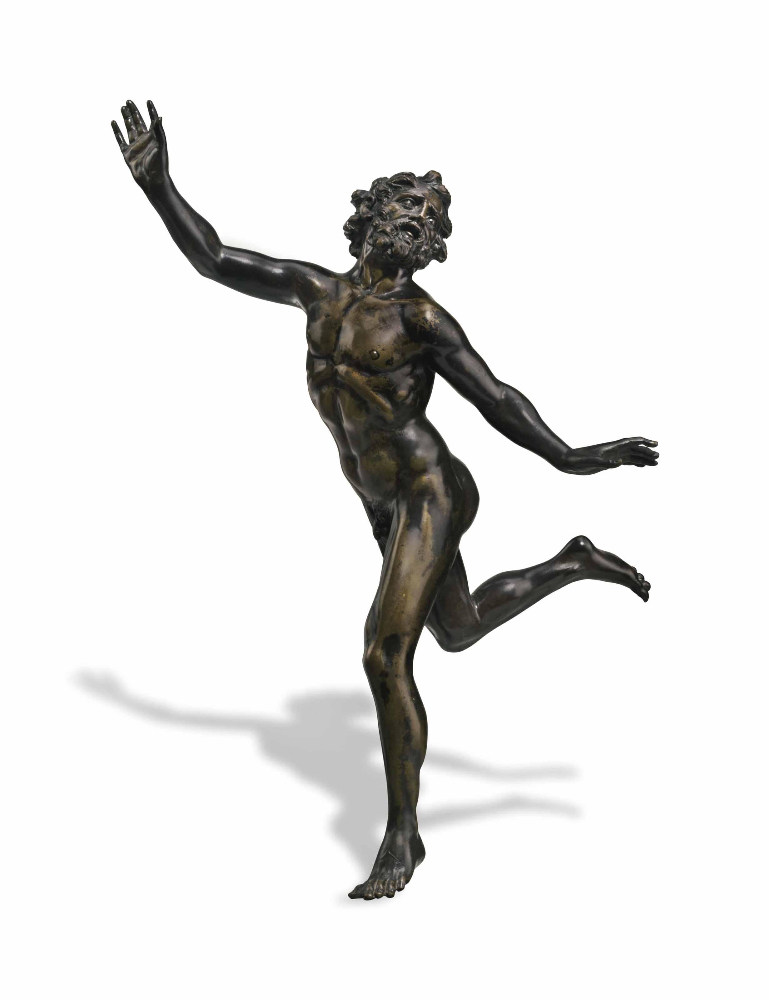 A BRONZE FIGURE OF A RUNNING MAN