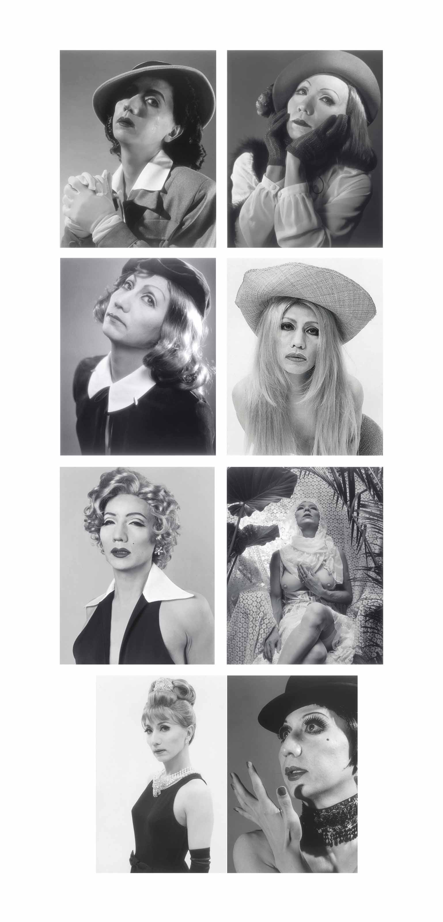 Self Portrait–After Ingrid Bergman, Greta Garbo 1, Greta Garbo 2, Brigitte Bardot 1, Marilyn Monroe, Sylvia Kristel, Audrey Hepburn 1, Liza Minelli 1