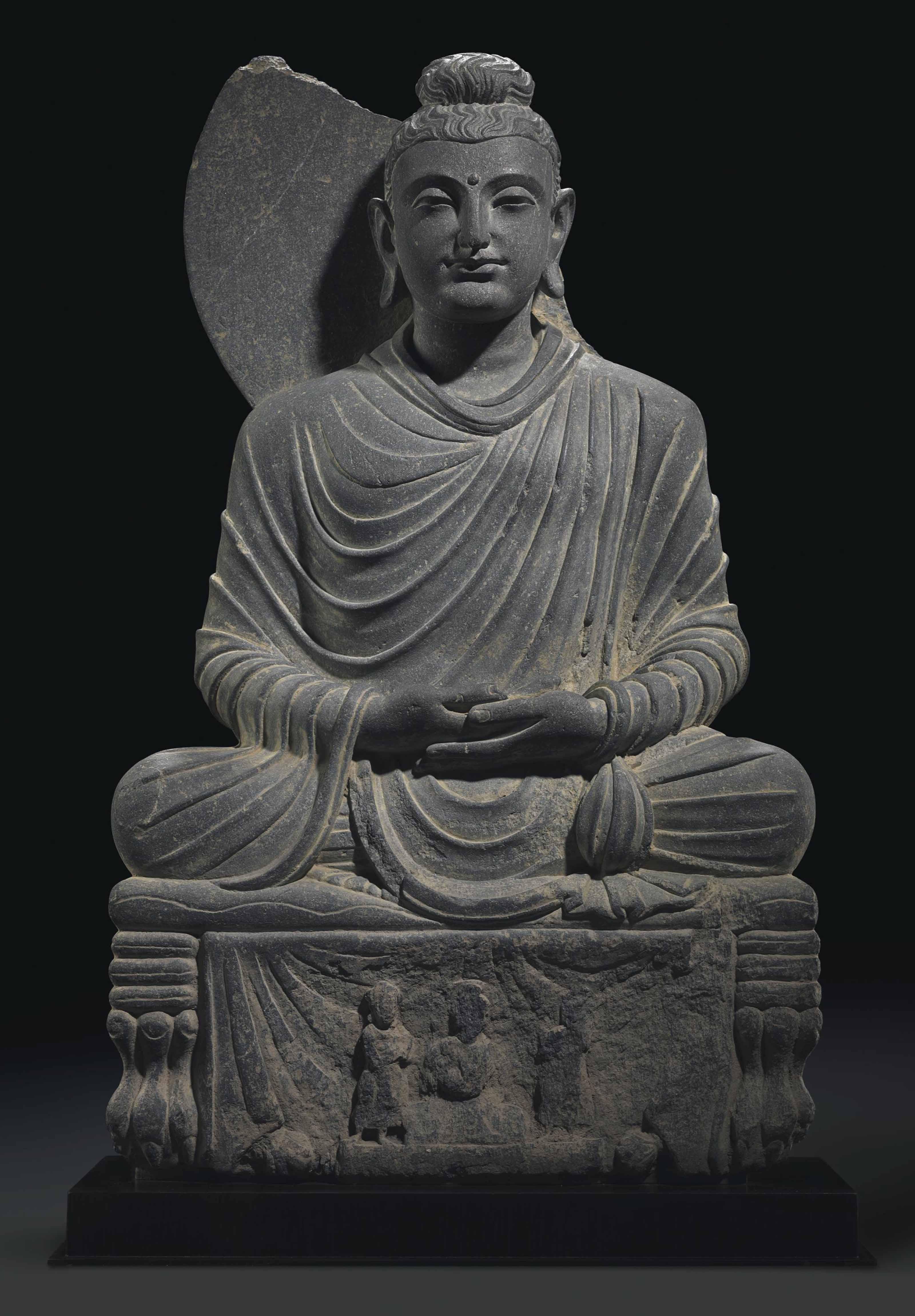 A Gray Schist Figure Of A Seated Buddha Gandhara 2nd 3rd Century Gandhara Christie S