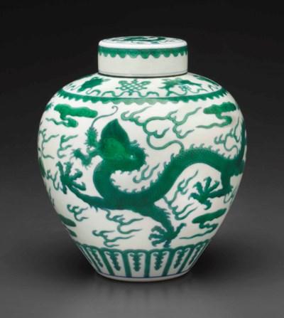 A GREEN-GLAZED 'DRAGON' JAR AN