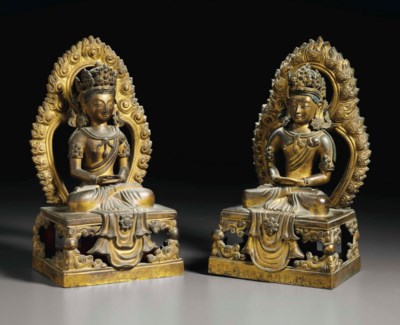 TWO DATED GILT-BRONZE FIGURES