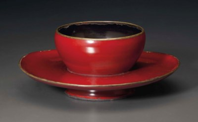 A RED LACQUER CUP STAND