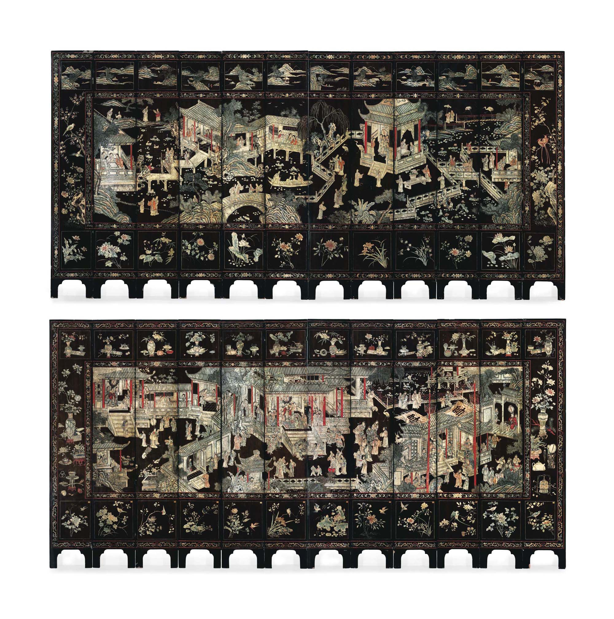 A RARE TWELVE-PANEL CARVED LAC