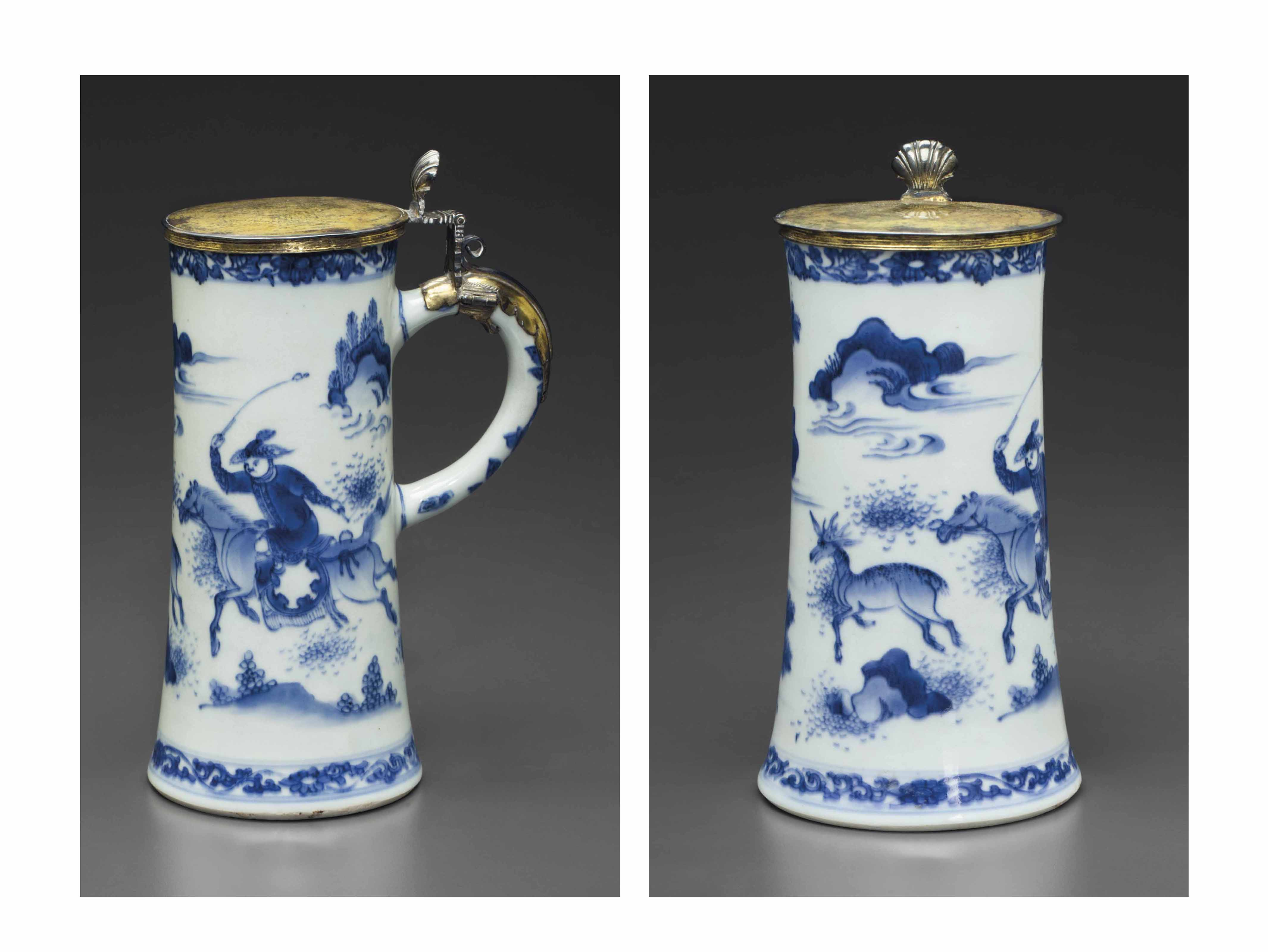 A SILVER-GILT-MOUNTED BLUE AND