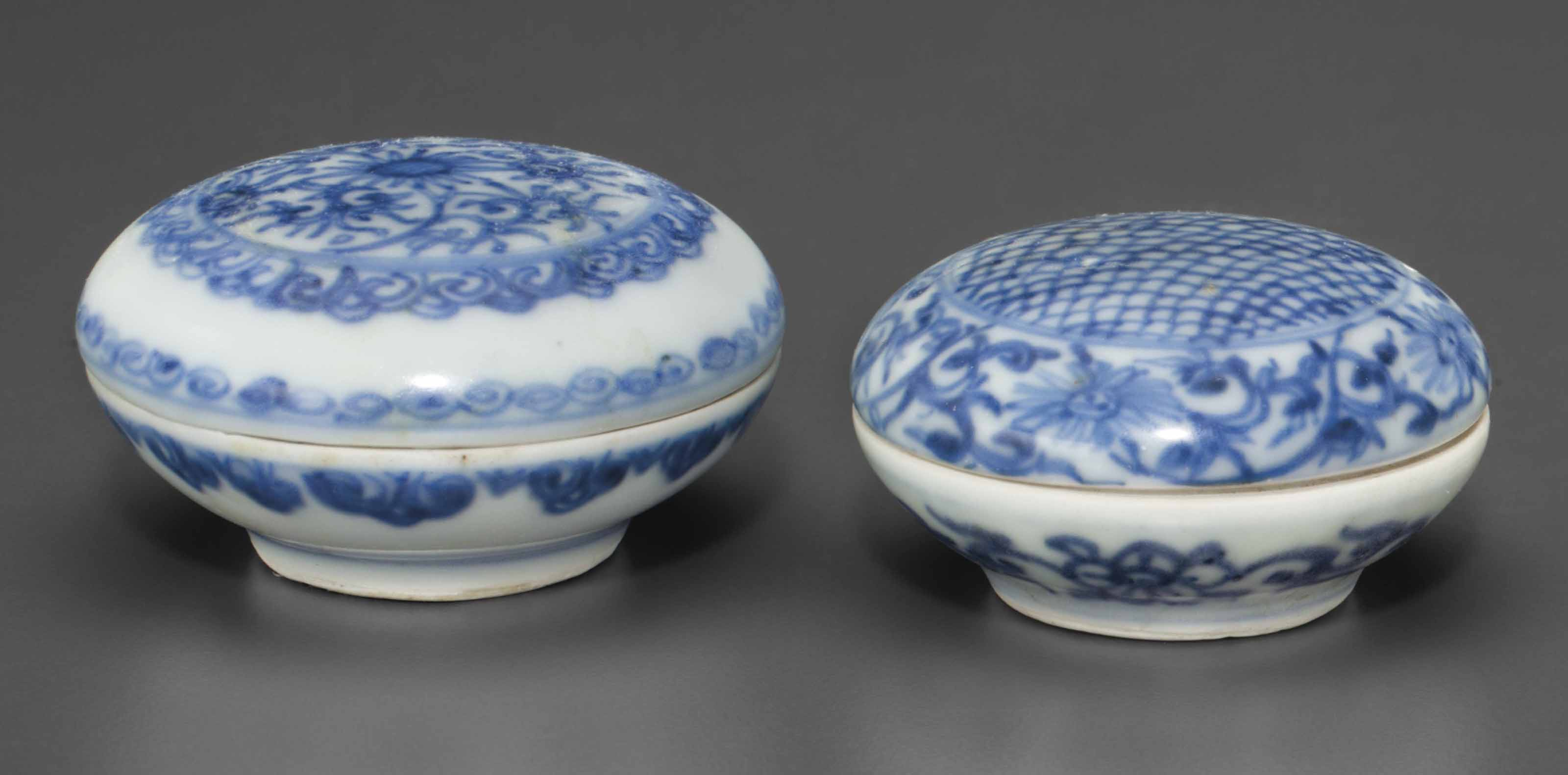 TWO SMALL BLUE AND WHITE CIRCU