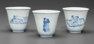 THREE BLUE AND WHITE 'LOVE CUP