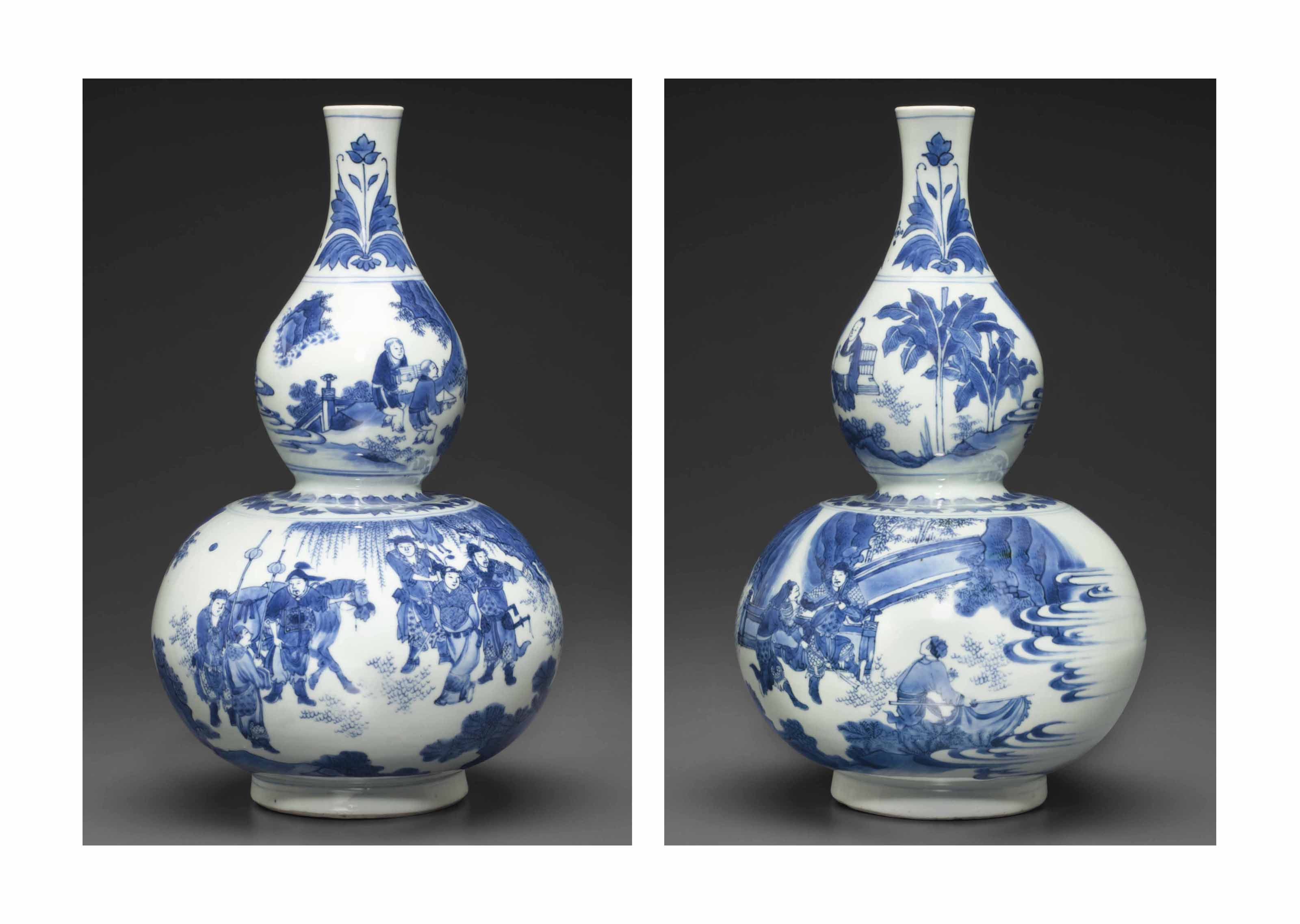 A BLUE AND WHITE DOUBLE GOURD-