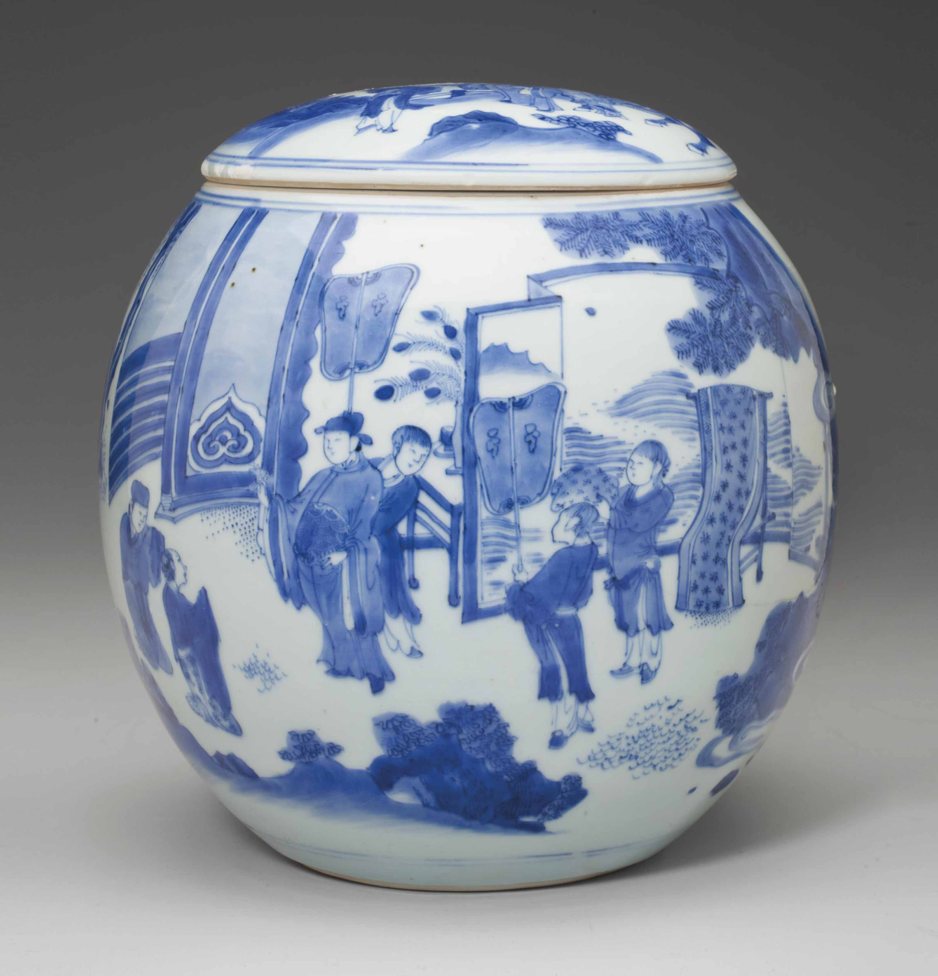 A RARE BLUE AND WHITE JAR AND