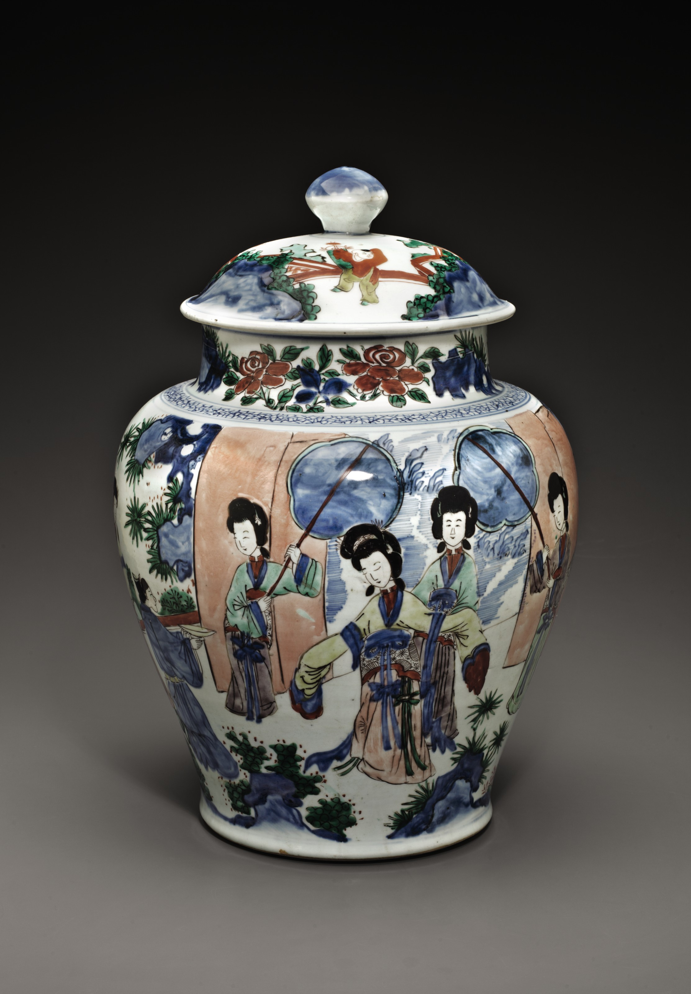 A LARGE WUCAI JAR AND COVER