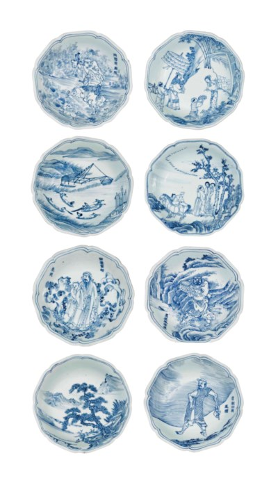 EIGHT RARE SMALL BLUE AND WHIT