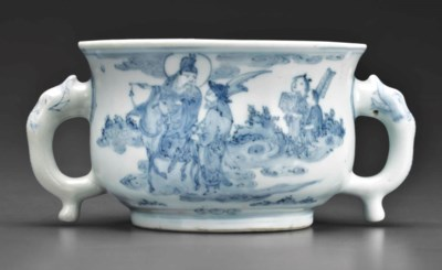 A SMALL BLUE AND WHITE CENSER
