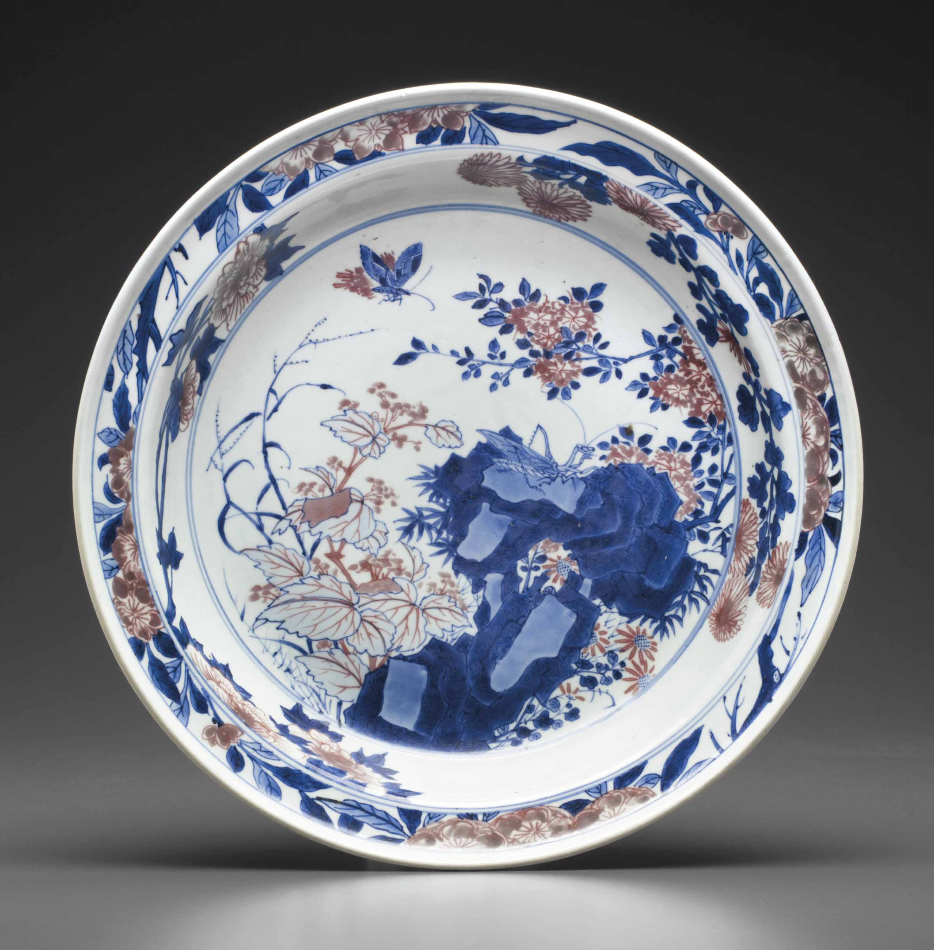 AN UNDERGLAZE-BLUE AND COPPER-