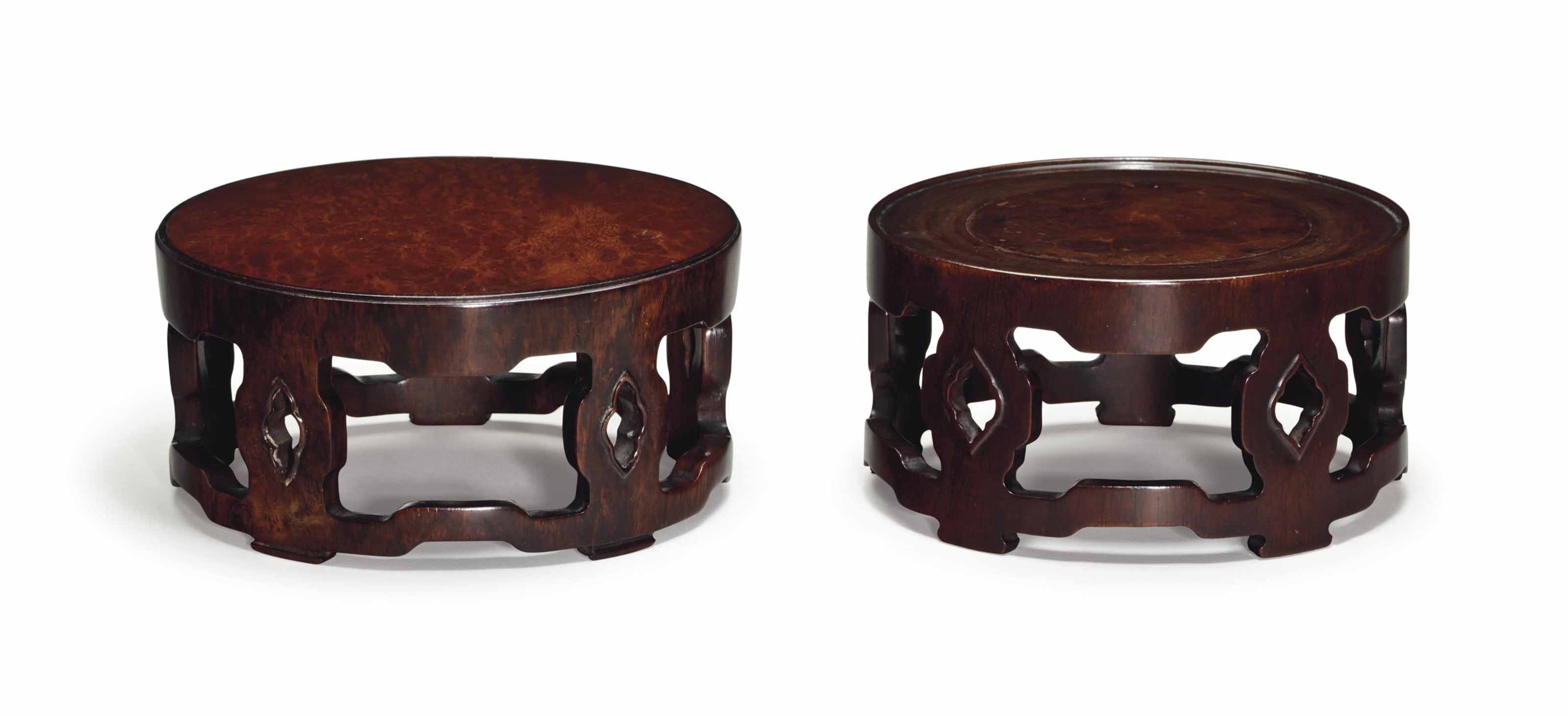 TWO HONGMU DRUM-FORM STANDS