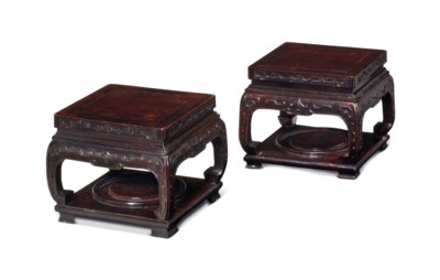 A PAIR OF SQUARE HONGMU STANDS