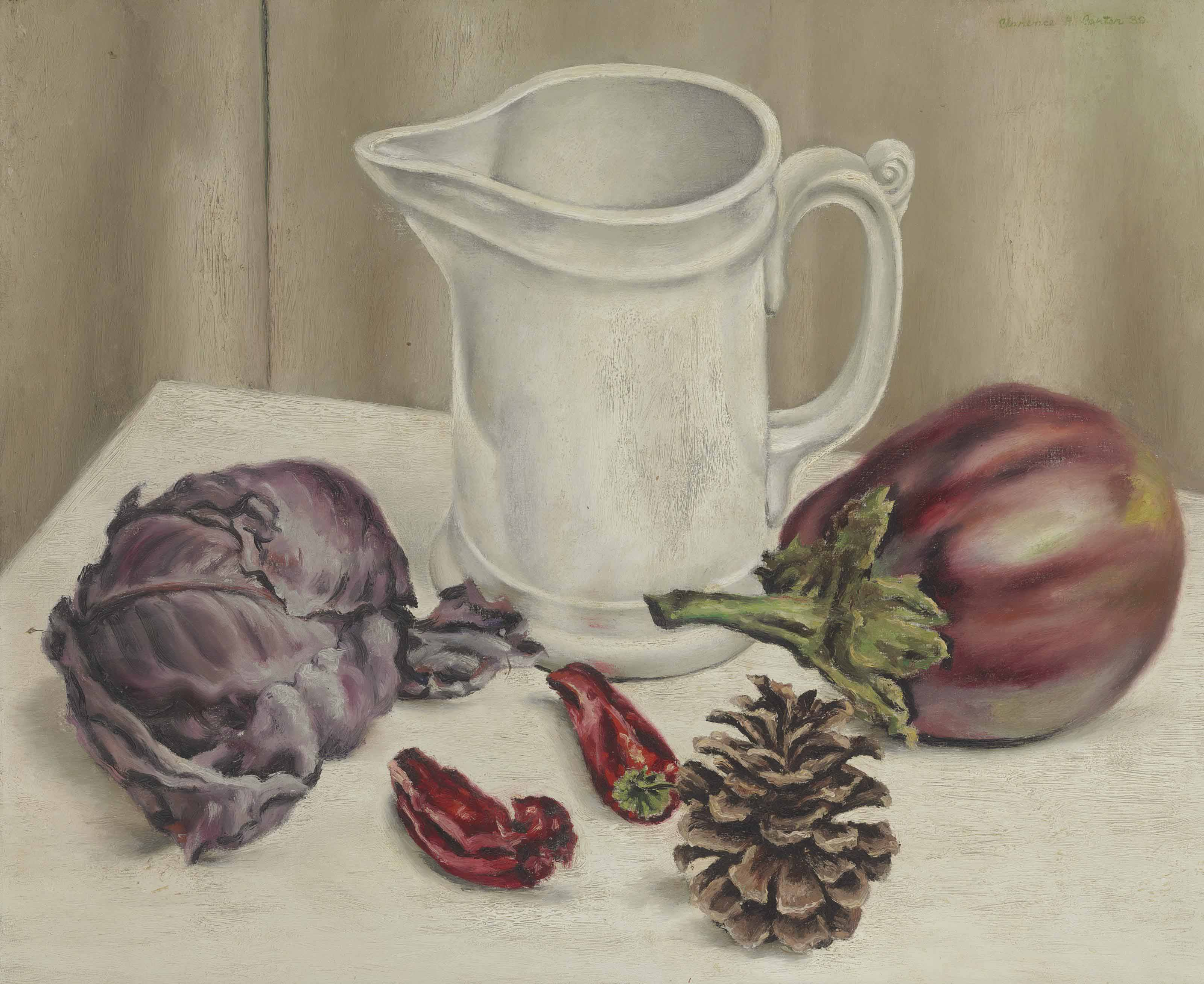 Still Life with Jug and Eggplant