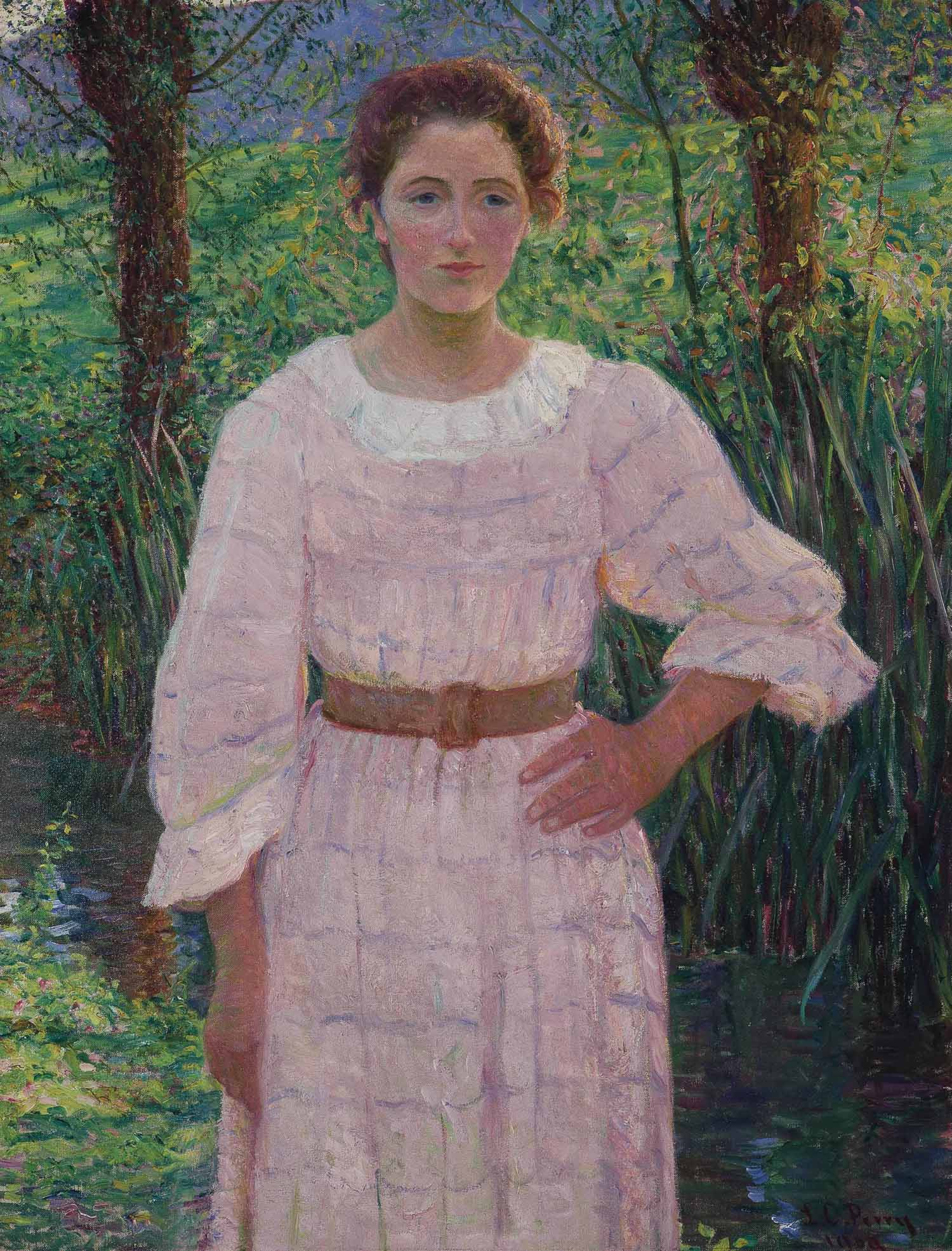 By the Brook, Giverny, France (Woman in Pink Dress)