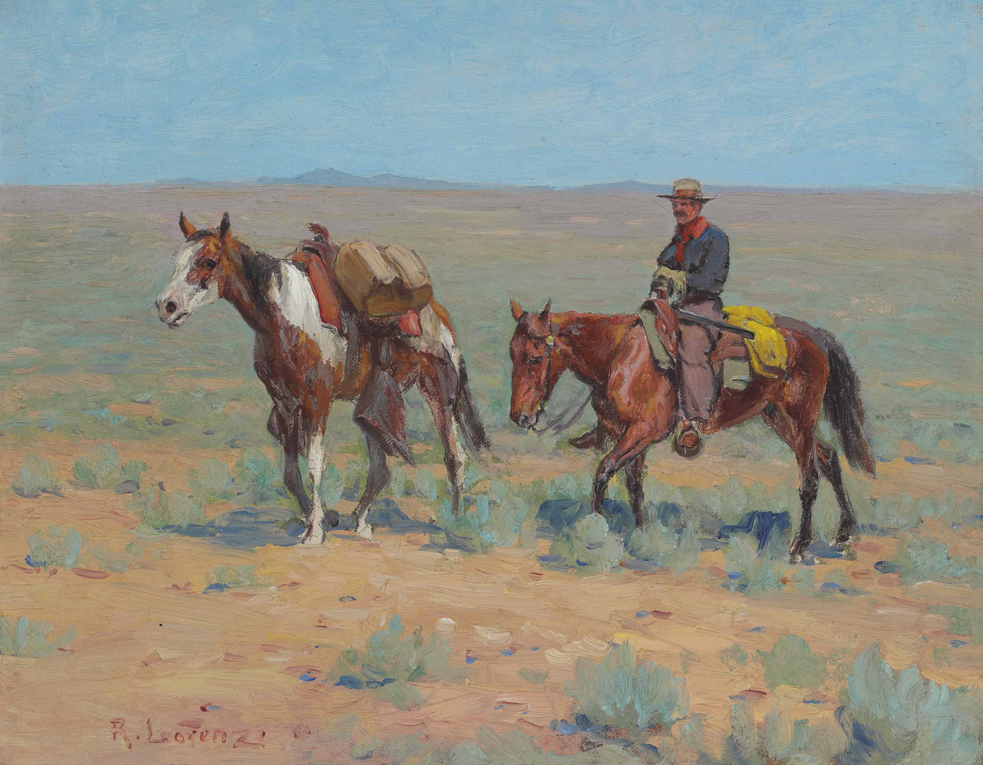 Mounted Cowboy and Pack Horse